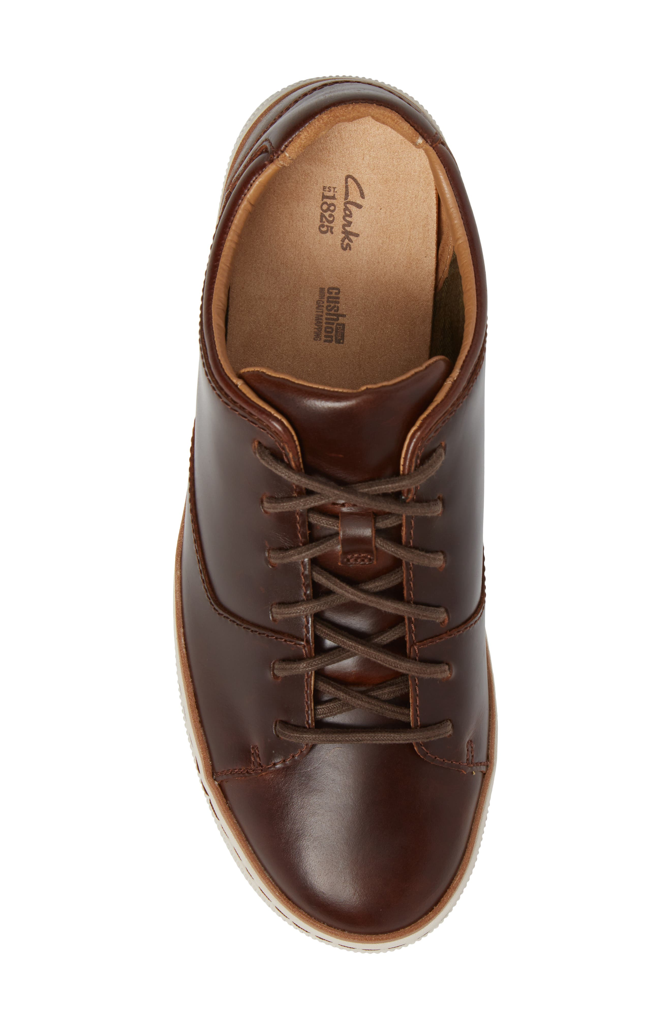 CLARKS<SUP>®</SUP>, Norsen Lace Sneaker, Alternate thumbnail 5, color, DARK TAN LEATHER