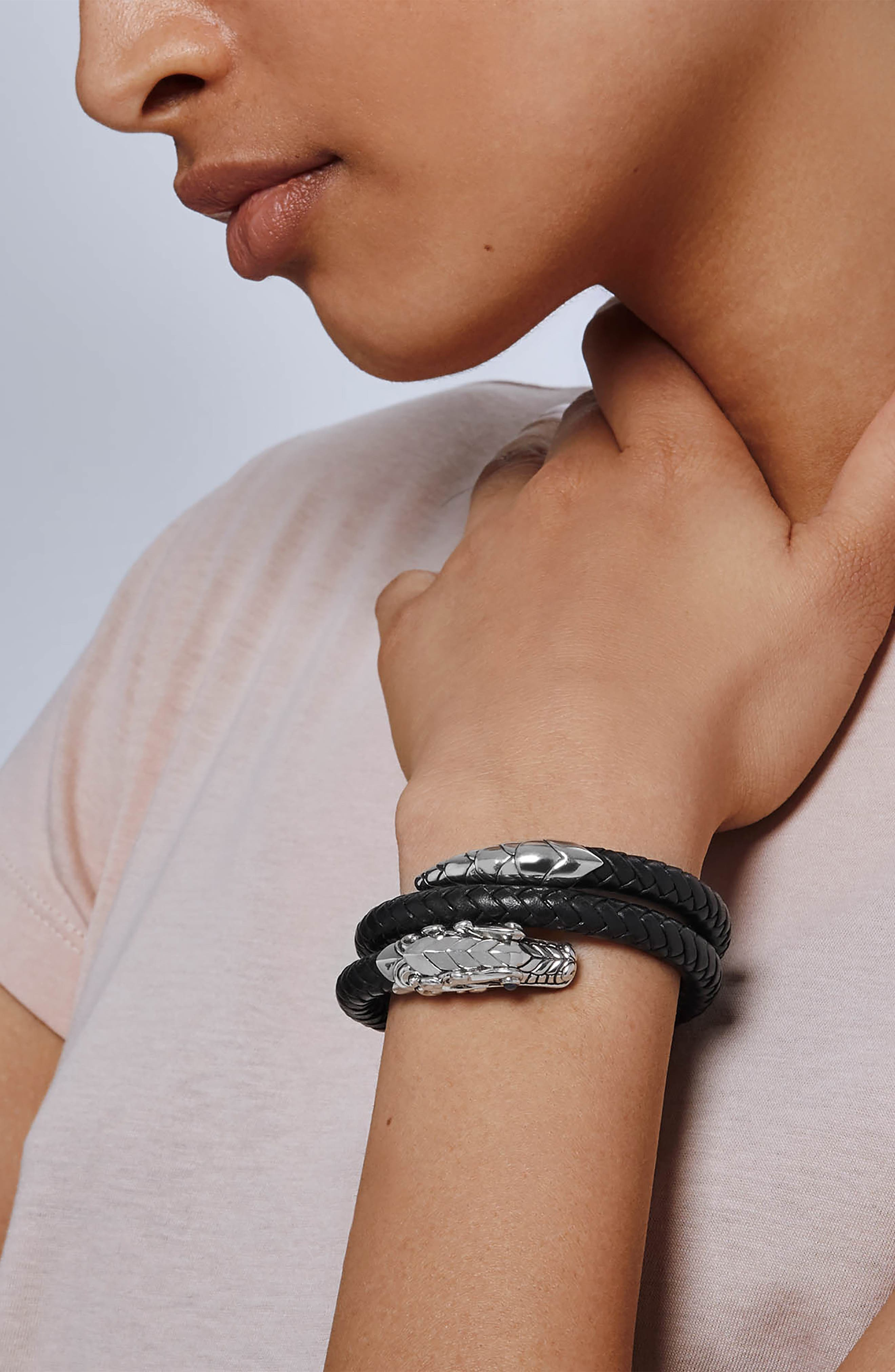 JOHN HARDY, Legends Naga Coiled Leather Bracelet, Alternate thumbnail 2, color, BLACK