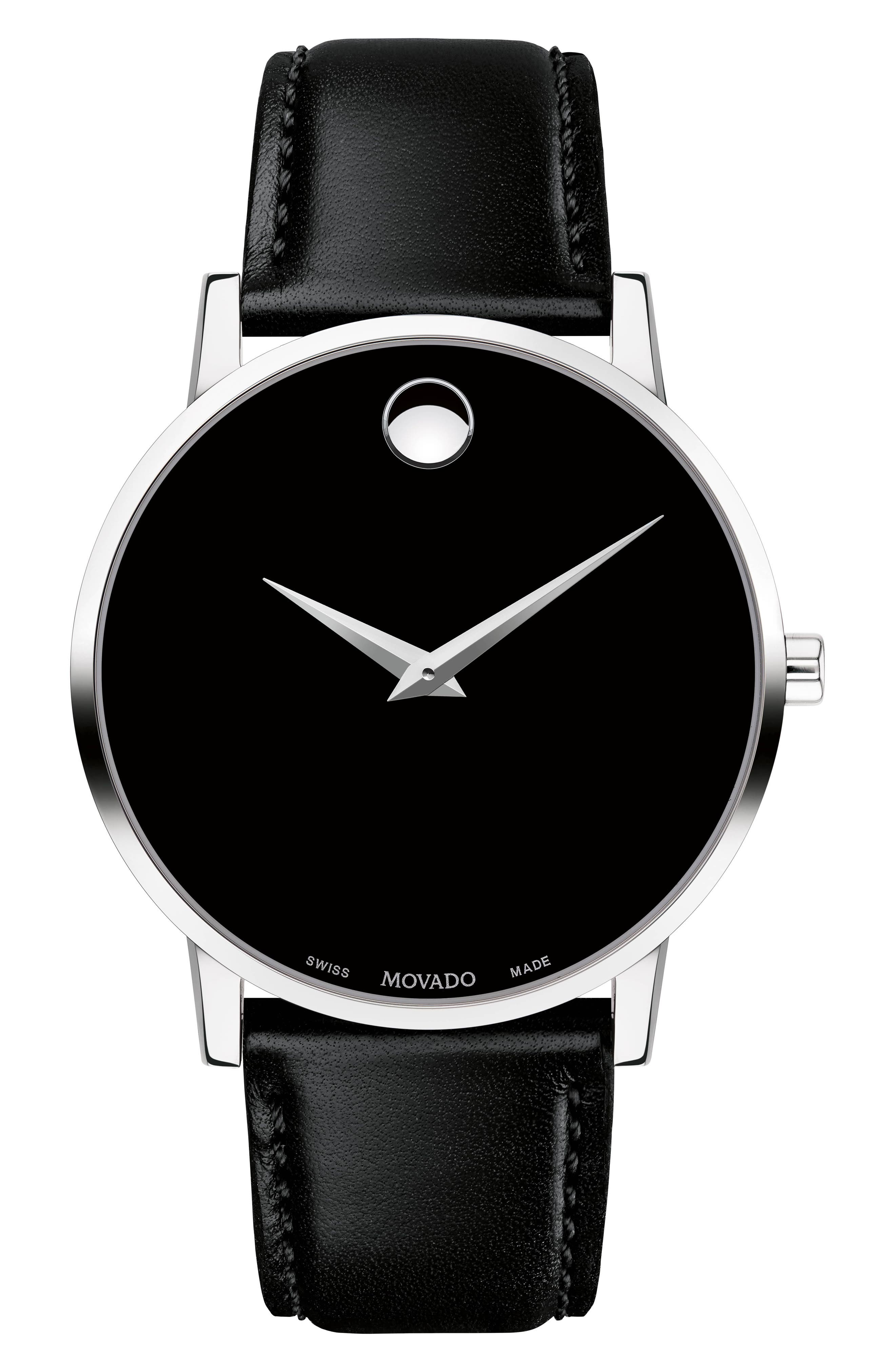 MOVADO Leather Strap Watch, 40mm, Main, color, BLACK/ SILVER