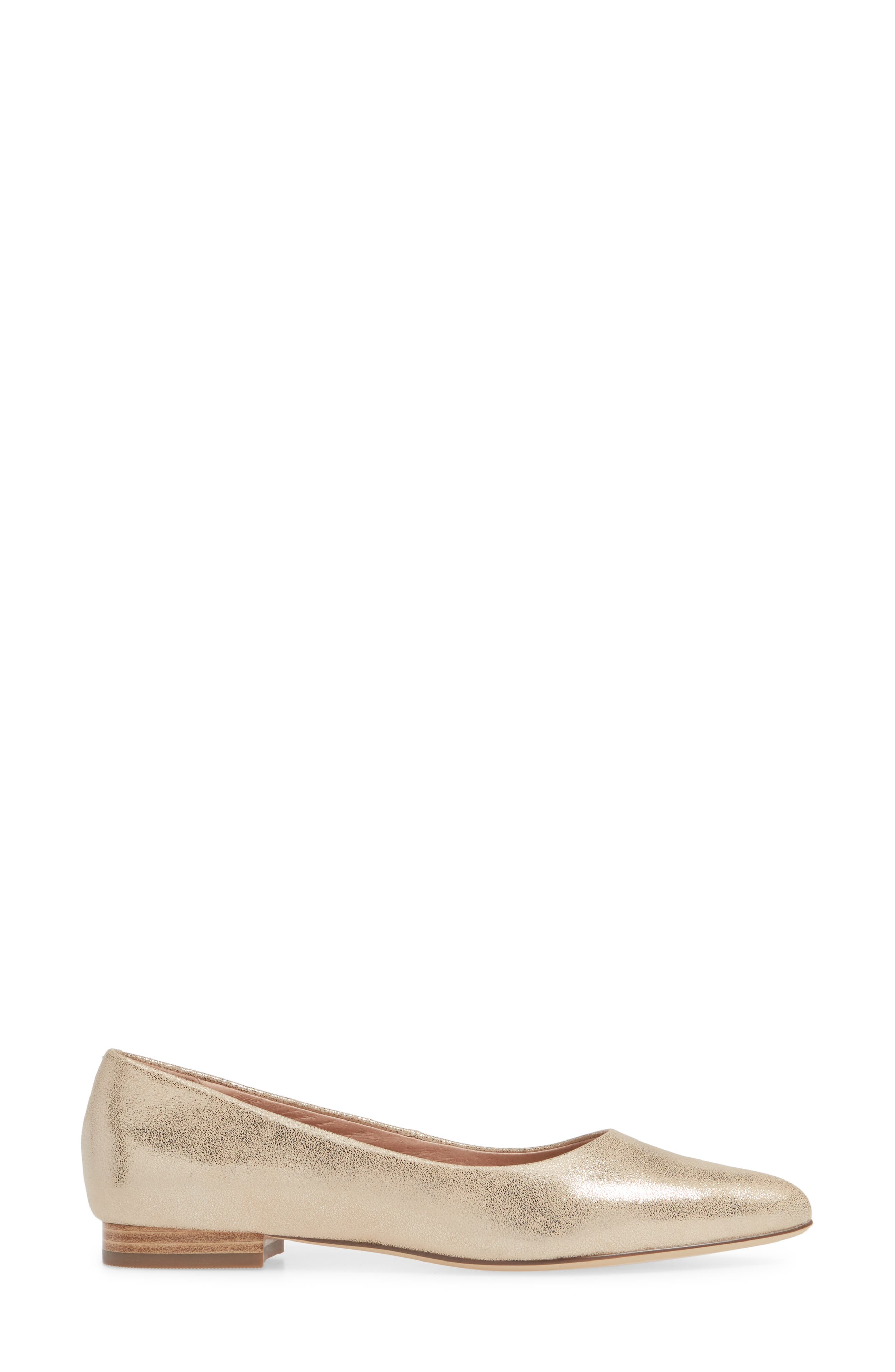 CASLON<SUP>®</SUP>, Luna Pointy Toe Flat, Alternate thumbnail 3, color, LIGHT GOLD LEATHER