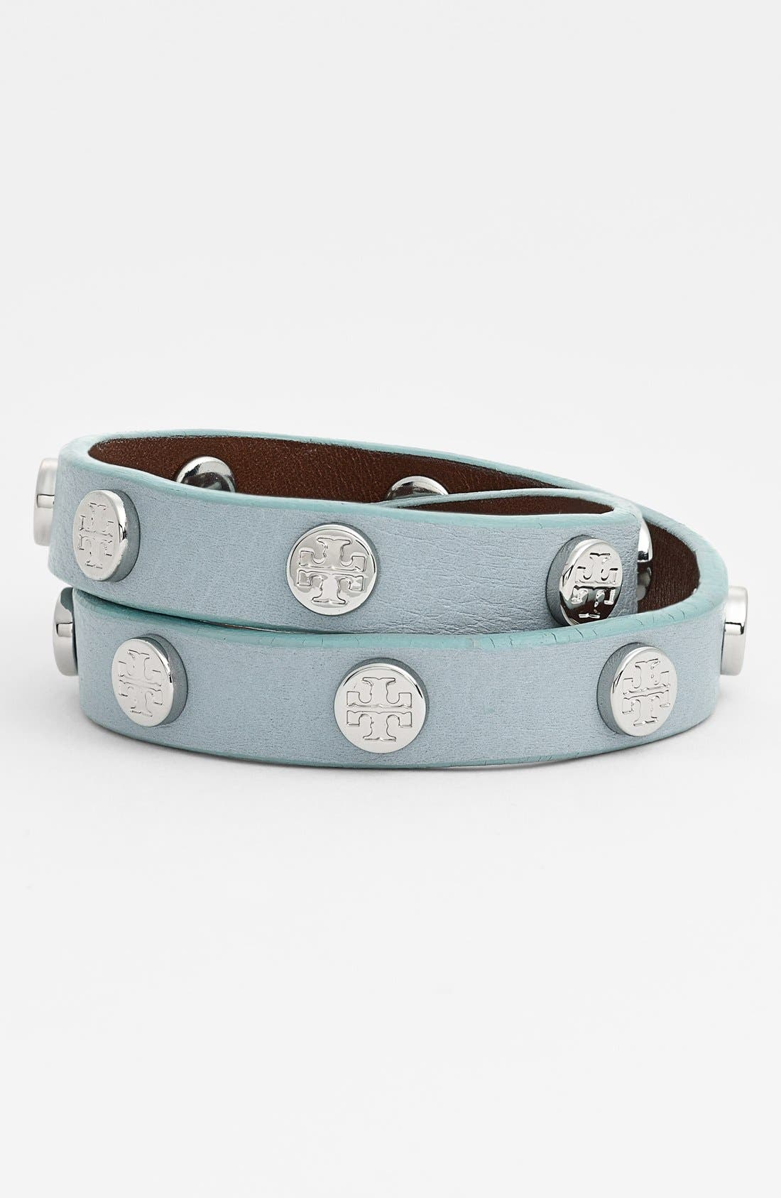 TORY BURCH, Logo Stud Leather Wrap Bracelet, Main thumbnail 1, color, 450