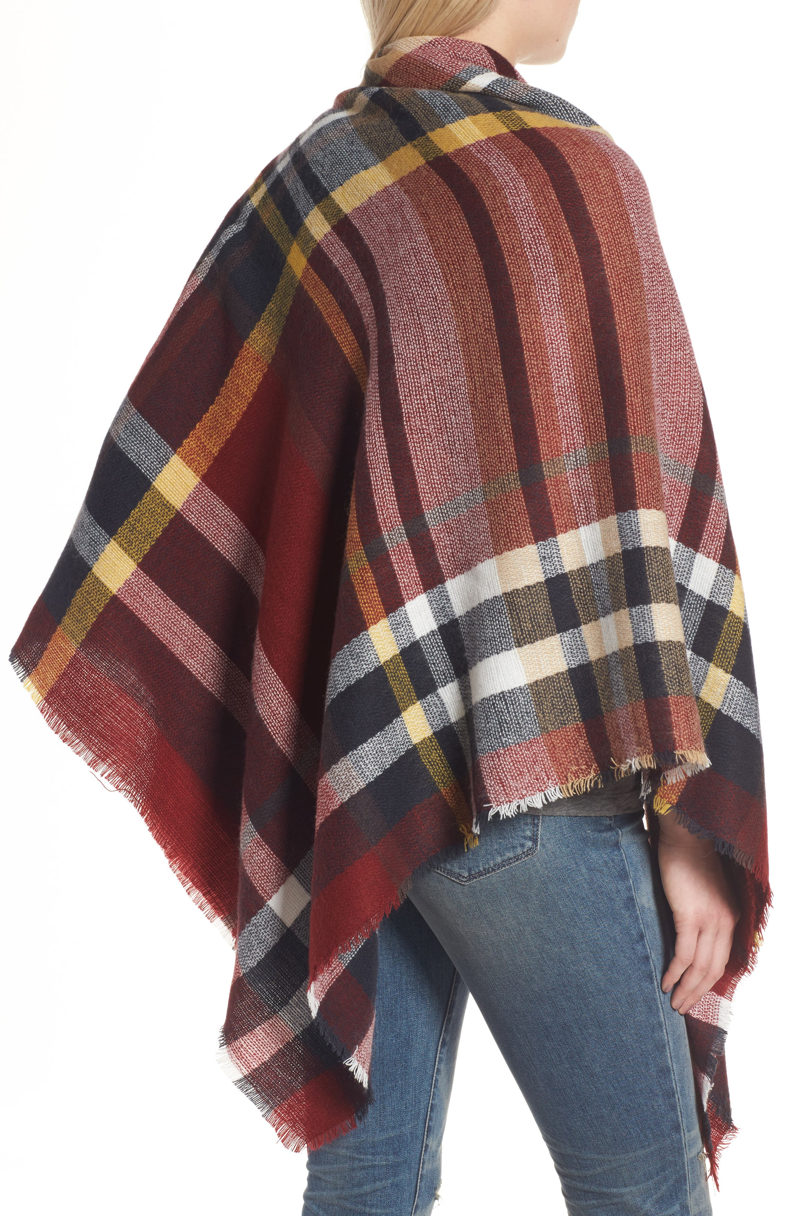 SHIRALEAH, Tatum Plaid Square Scarf, Alternate thumbnail 2, color, 930