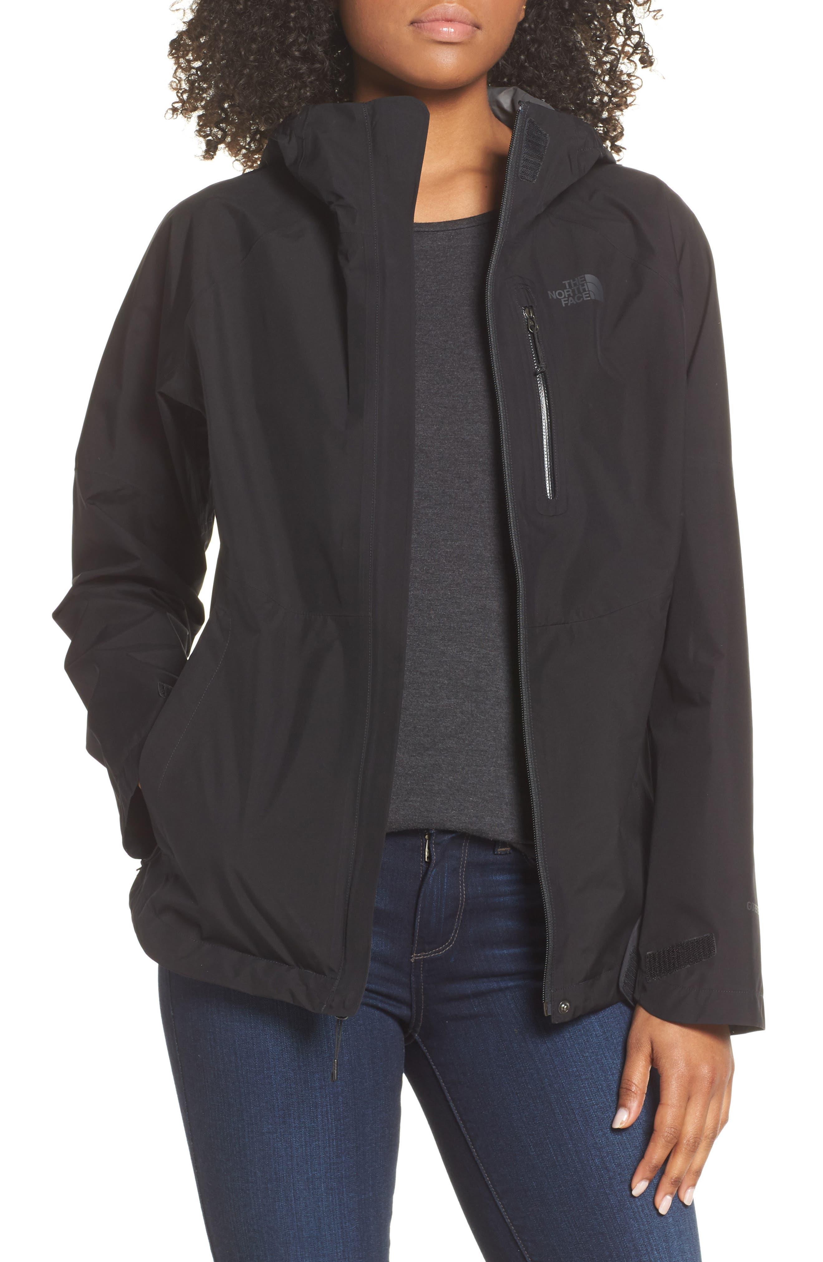 THE NORTH FACE Dryzzle Hooded Rain Jacket, Main, color, TNF BLACK