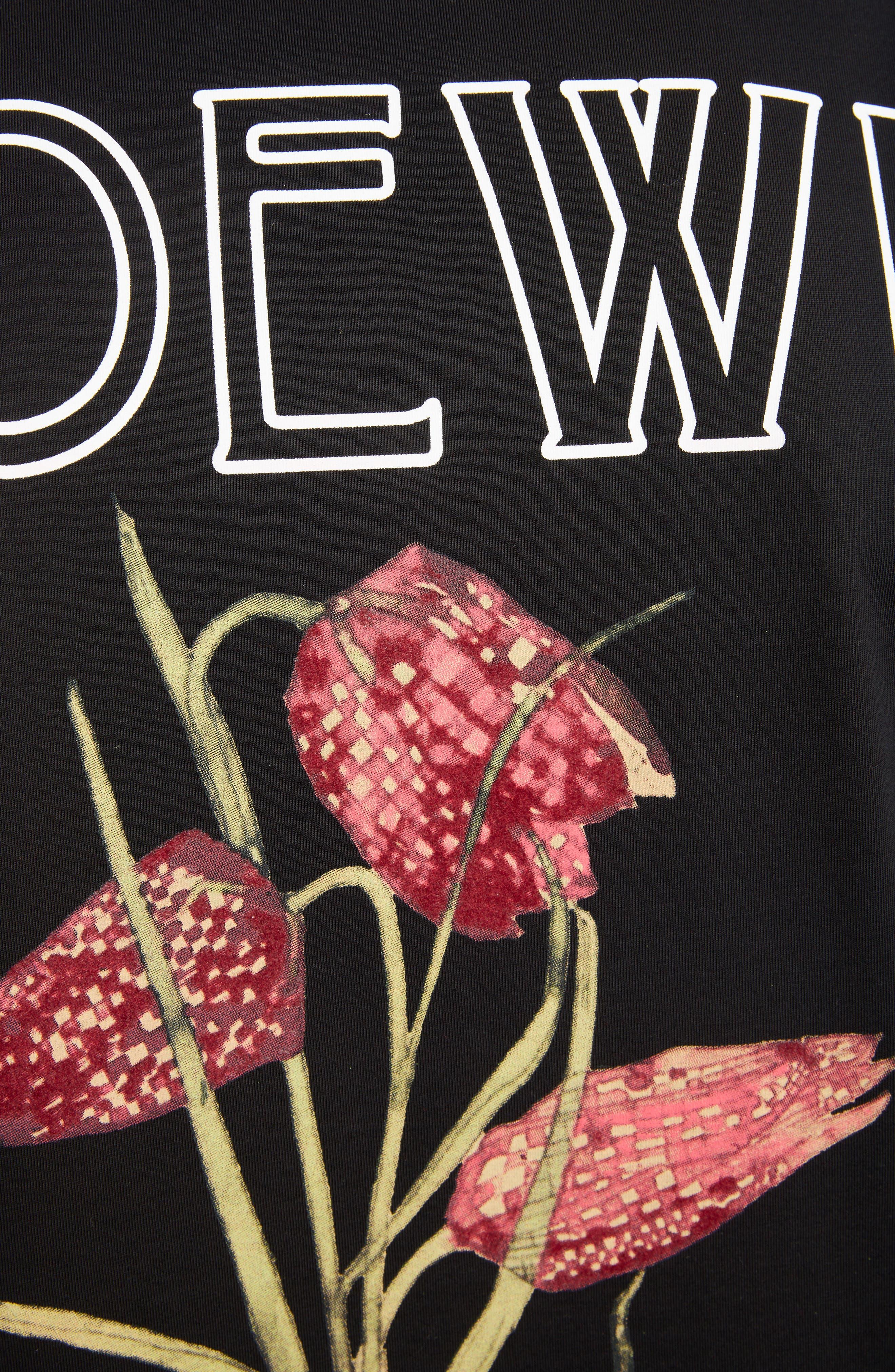 LOEWE, Charles Rennie Mackintosh Collection Botanical Print T-Shirt, Alternate thumbnail 5, color, 1100-BLACK