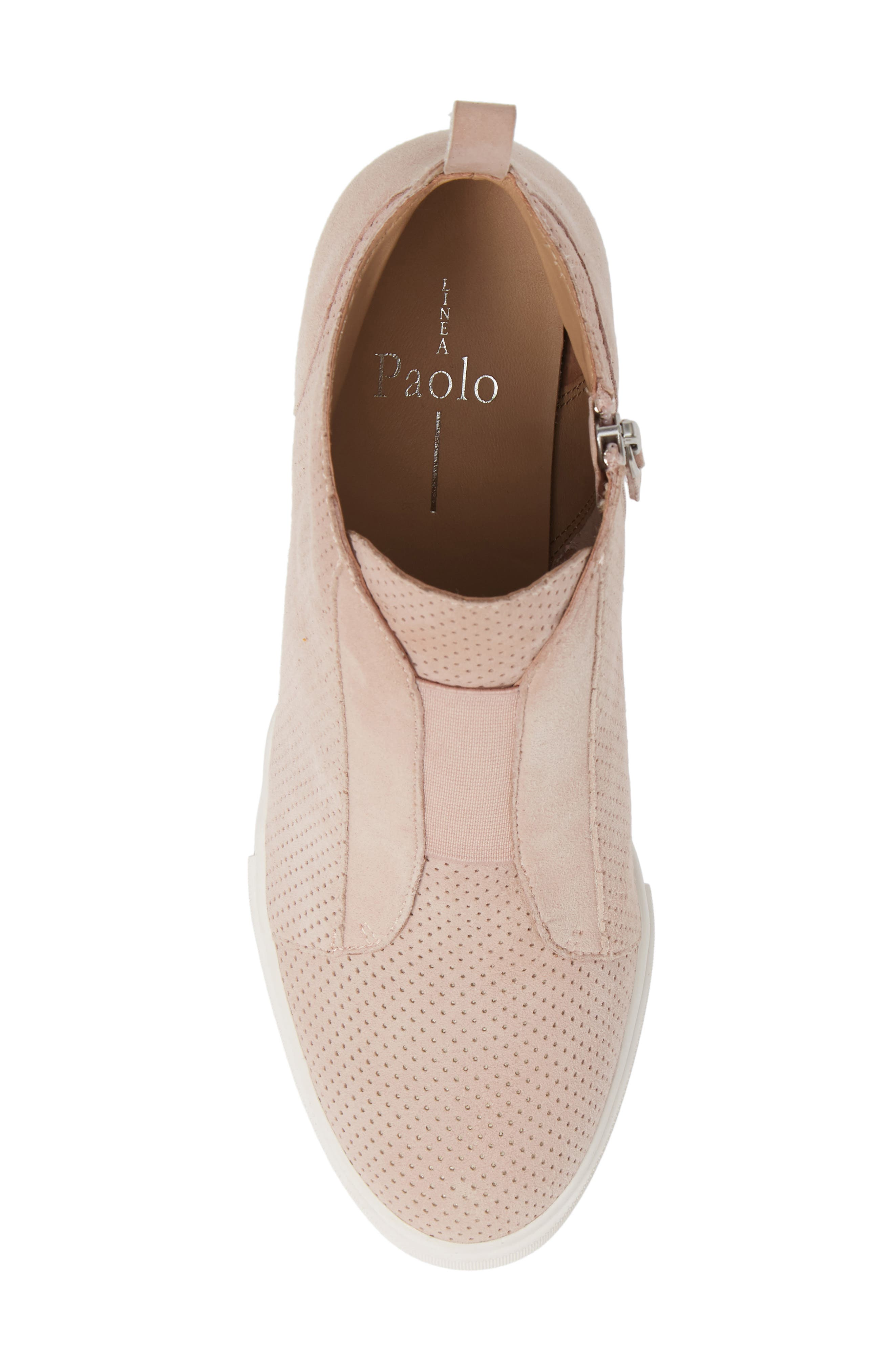 LINEA PAOLO, Felicia Wedge Bootie, Alternate thumbnail 5, color, BLUSH PERFORATED SUEDE