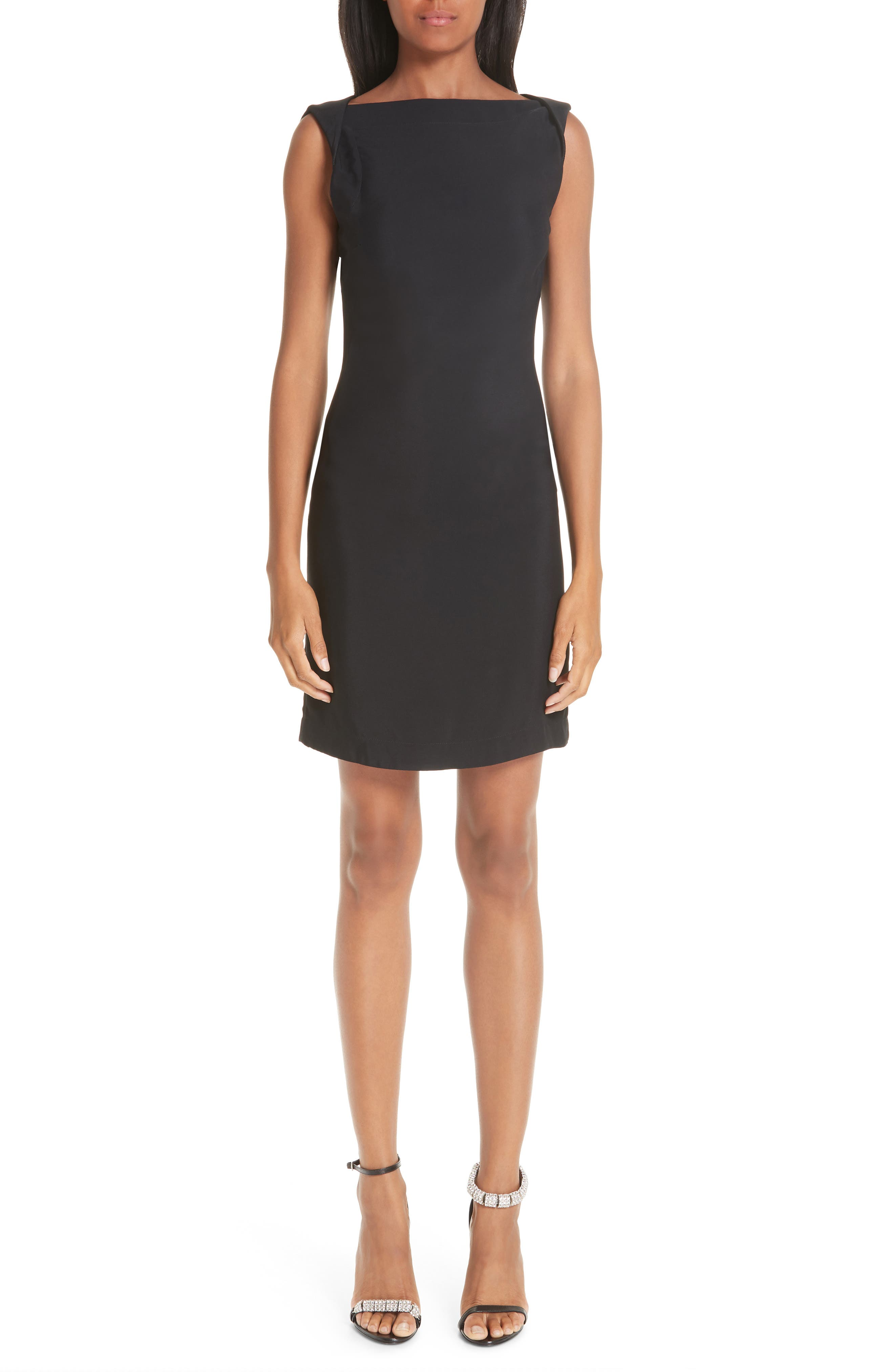 CALVIN KLEIN 205W39NYC, Open Back Cady Dress, Main thumbnail 1, color, BLACK