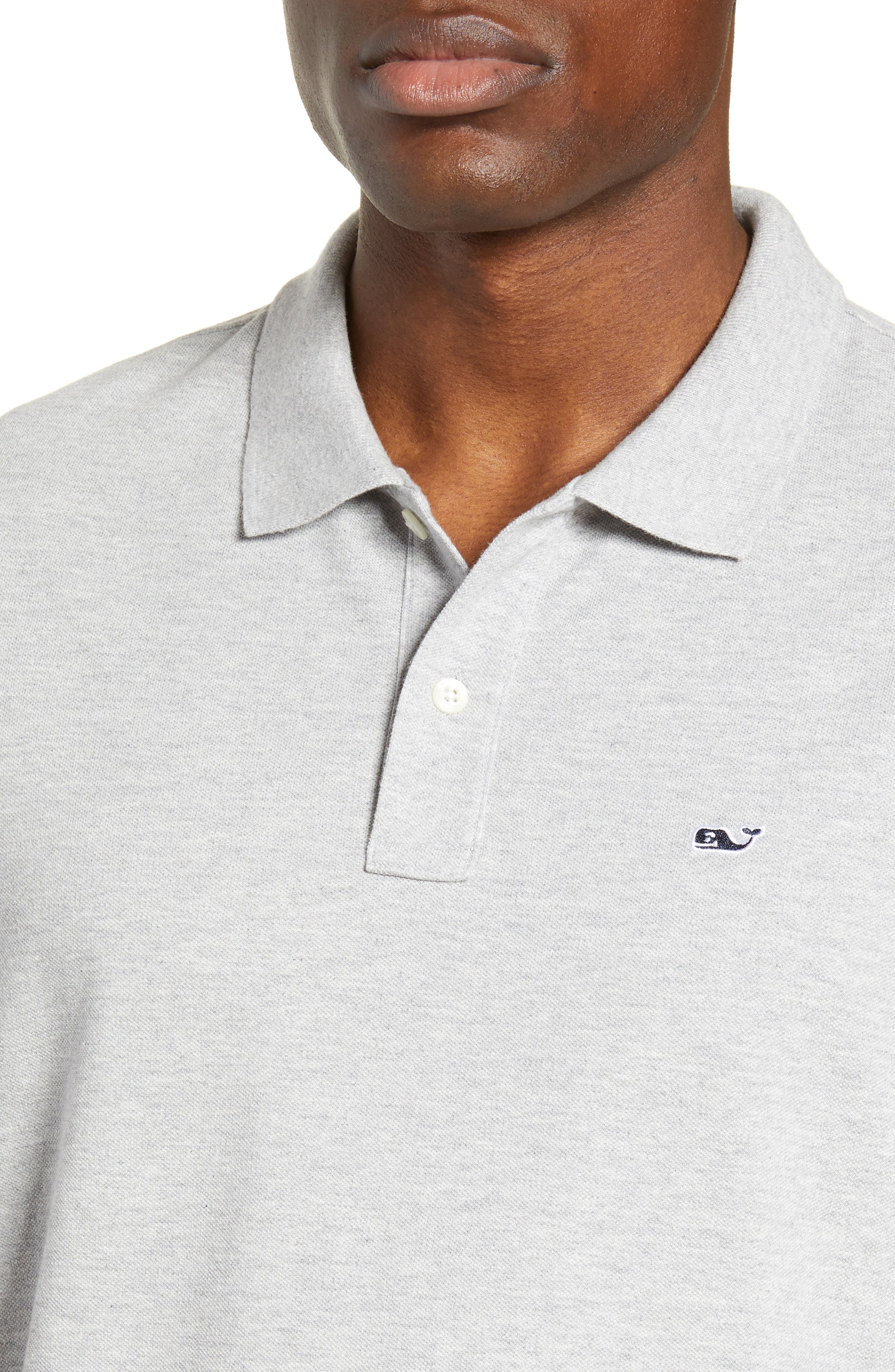 VINEYARD VINES, Regular Fit Stretch Piqué Polo, Alternate thumbnail 4, color, LIGHT GRAY HEATHER