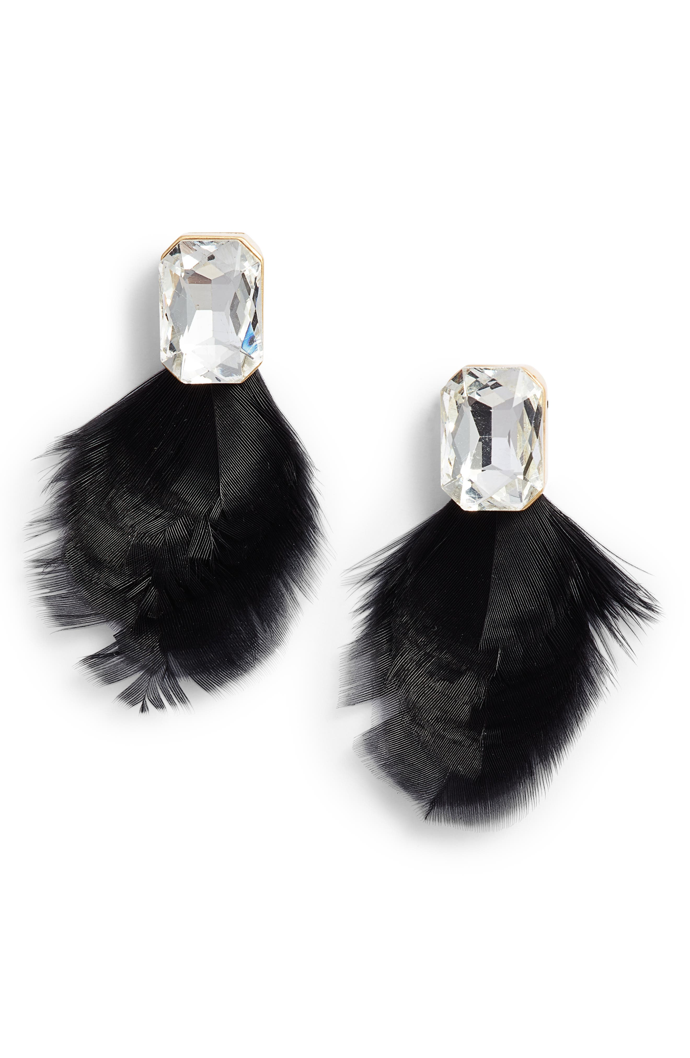 KATE SPADE NEW YORK, feather drop earrings, Main thumbnail 1, color, BLACK MULTI