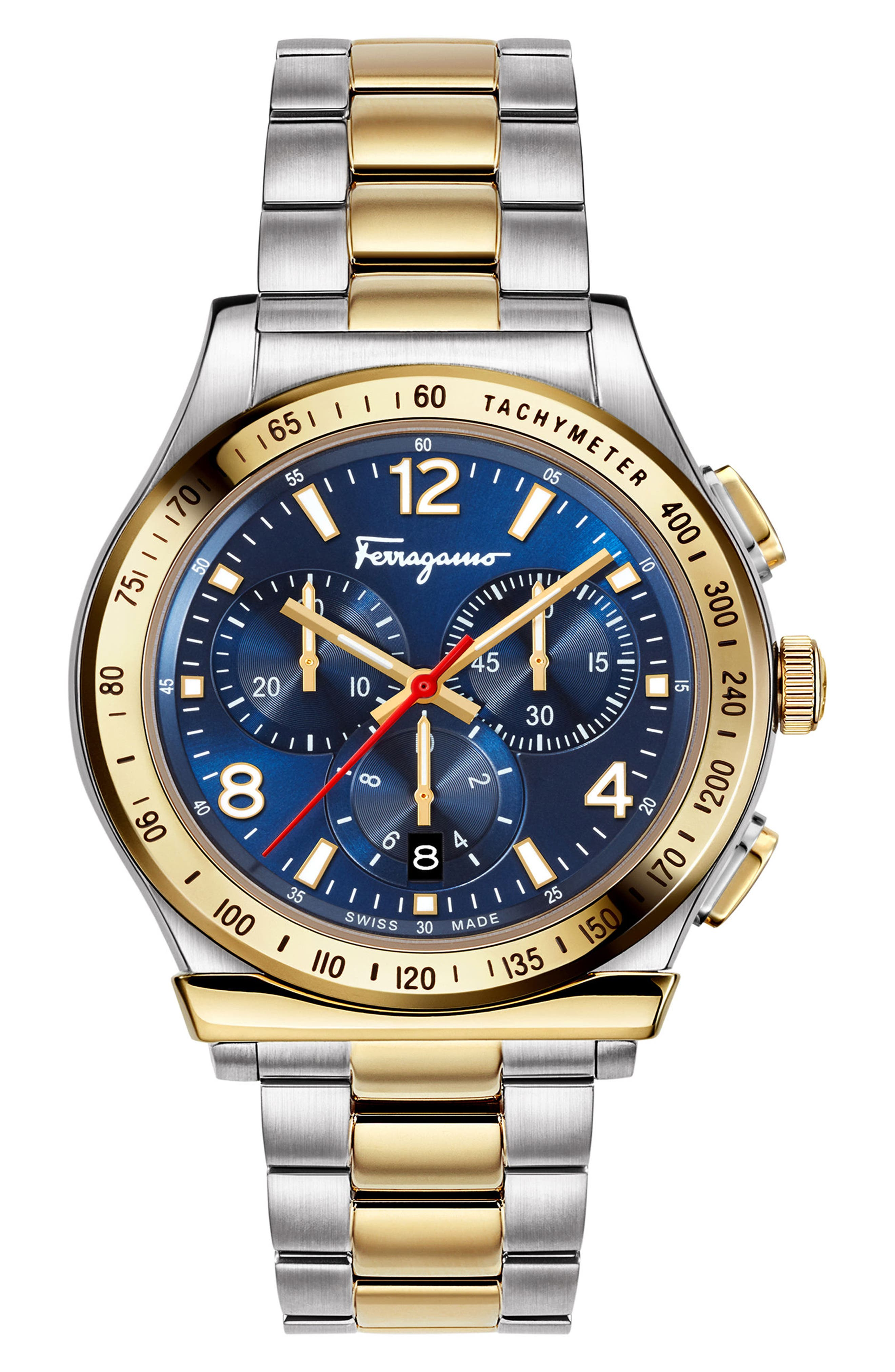 SALVATORE FERRAGAMO, 1898 Chronograph Bracelet Watch, 42mm, Main thumbnail 1, color, SILVER/ BLUE/ GOLD