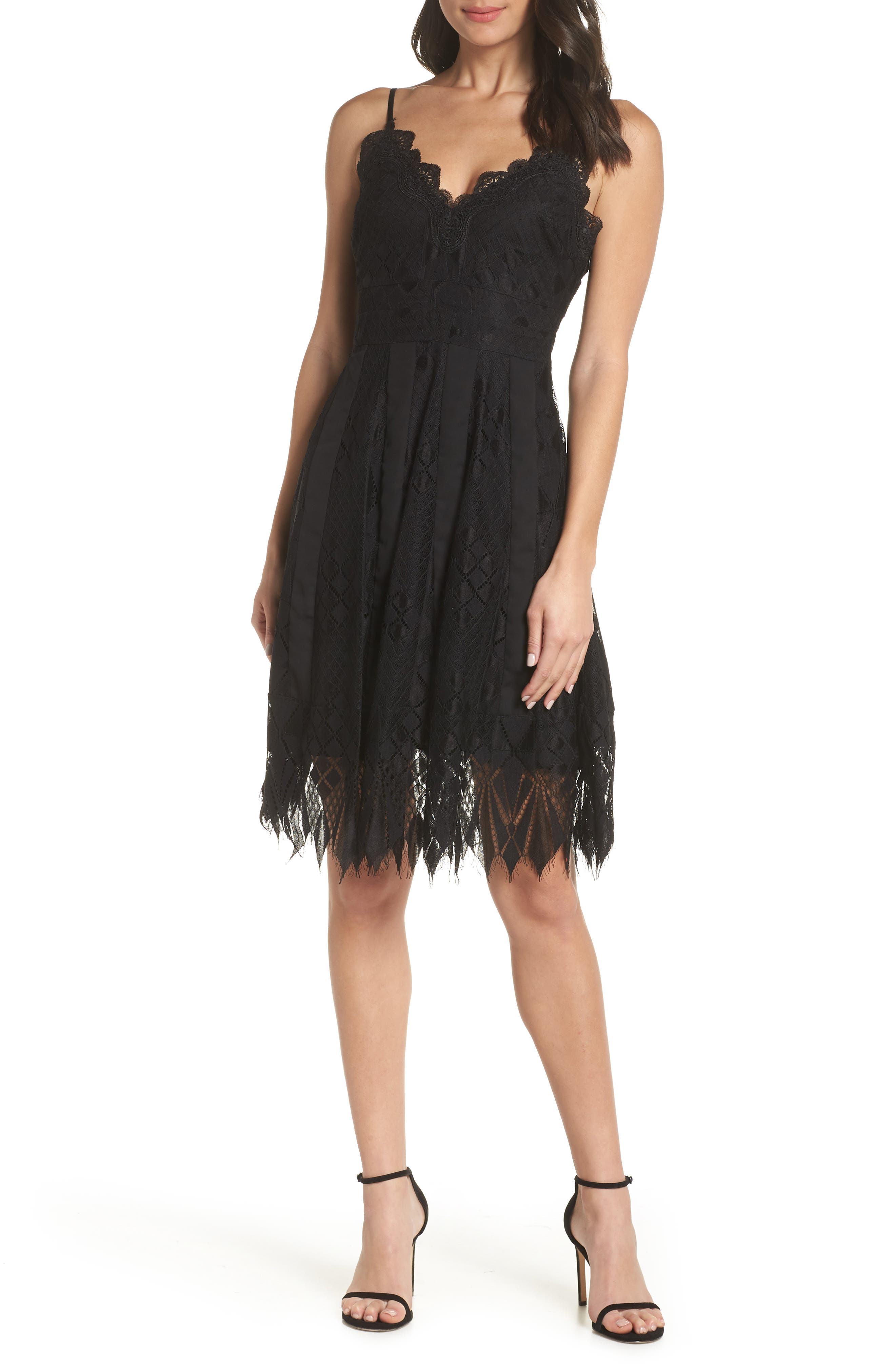 FOXIEDOX, Calla Geometric Lace Dress, Main thumbnail 1, color, 001