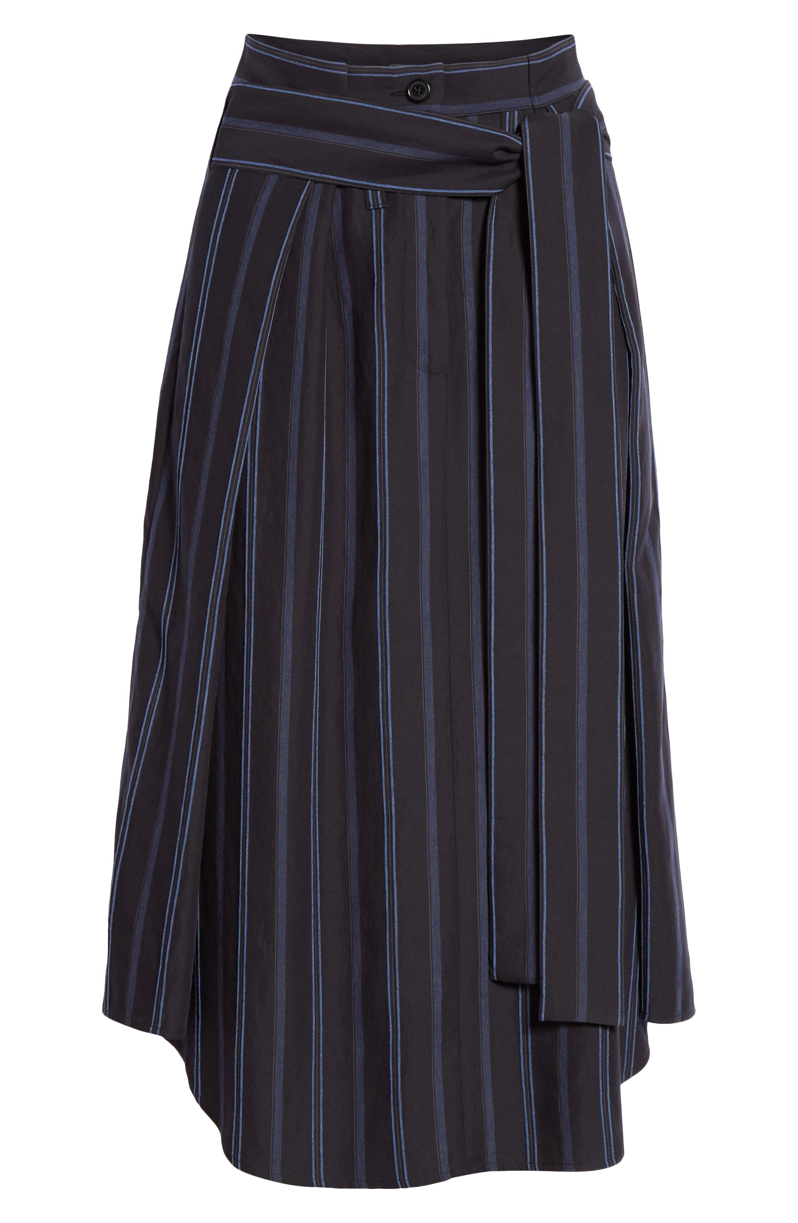 VINCE, Dobby Stripe Belted Skirt, Alternate thumbnail 6, color, INDIGO