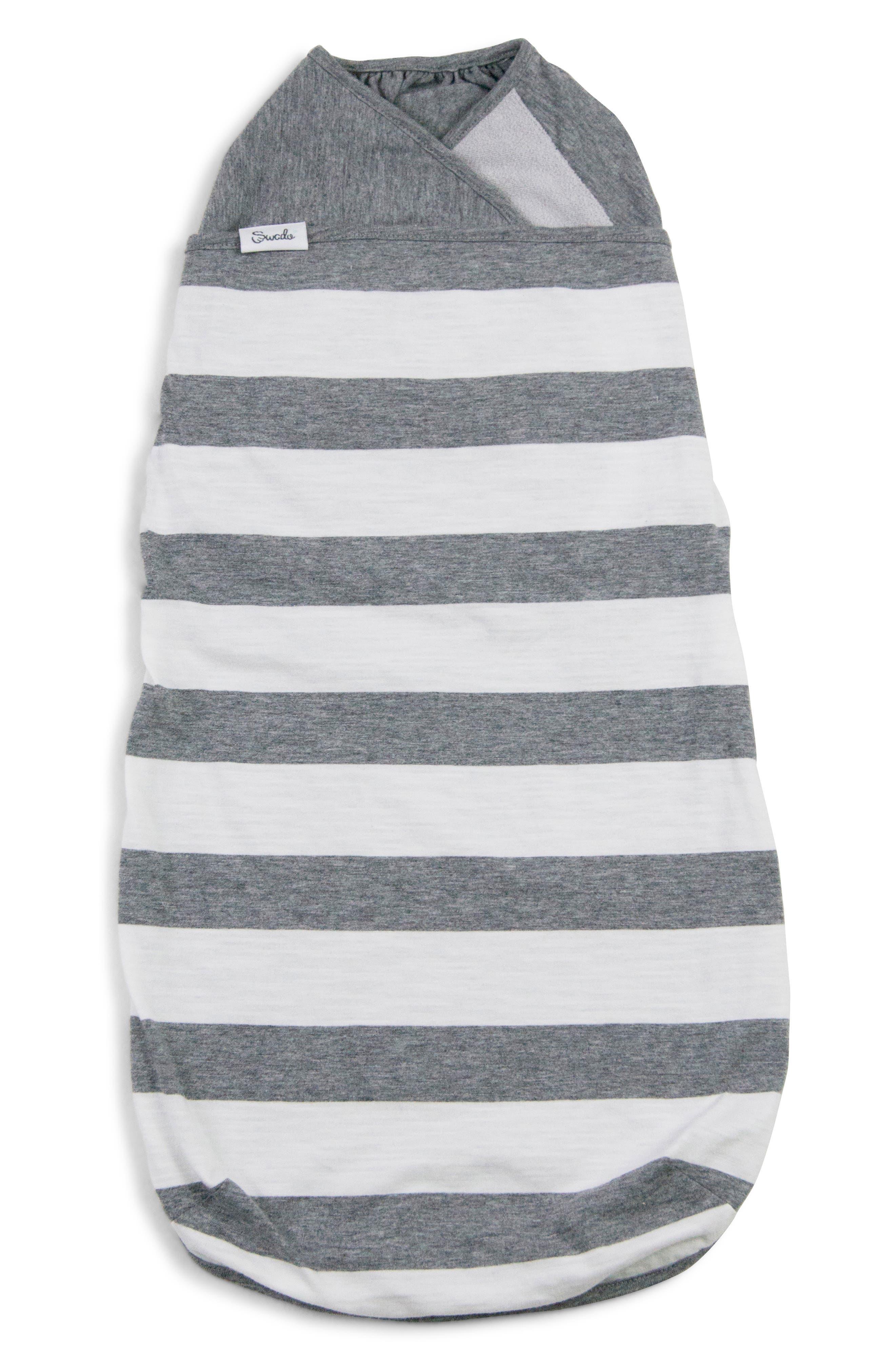 SWADO, Stripe Wearable Swaddle, Main thumbnail 1, color, GREY/ WHITE STRIPE