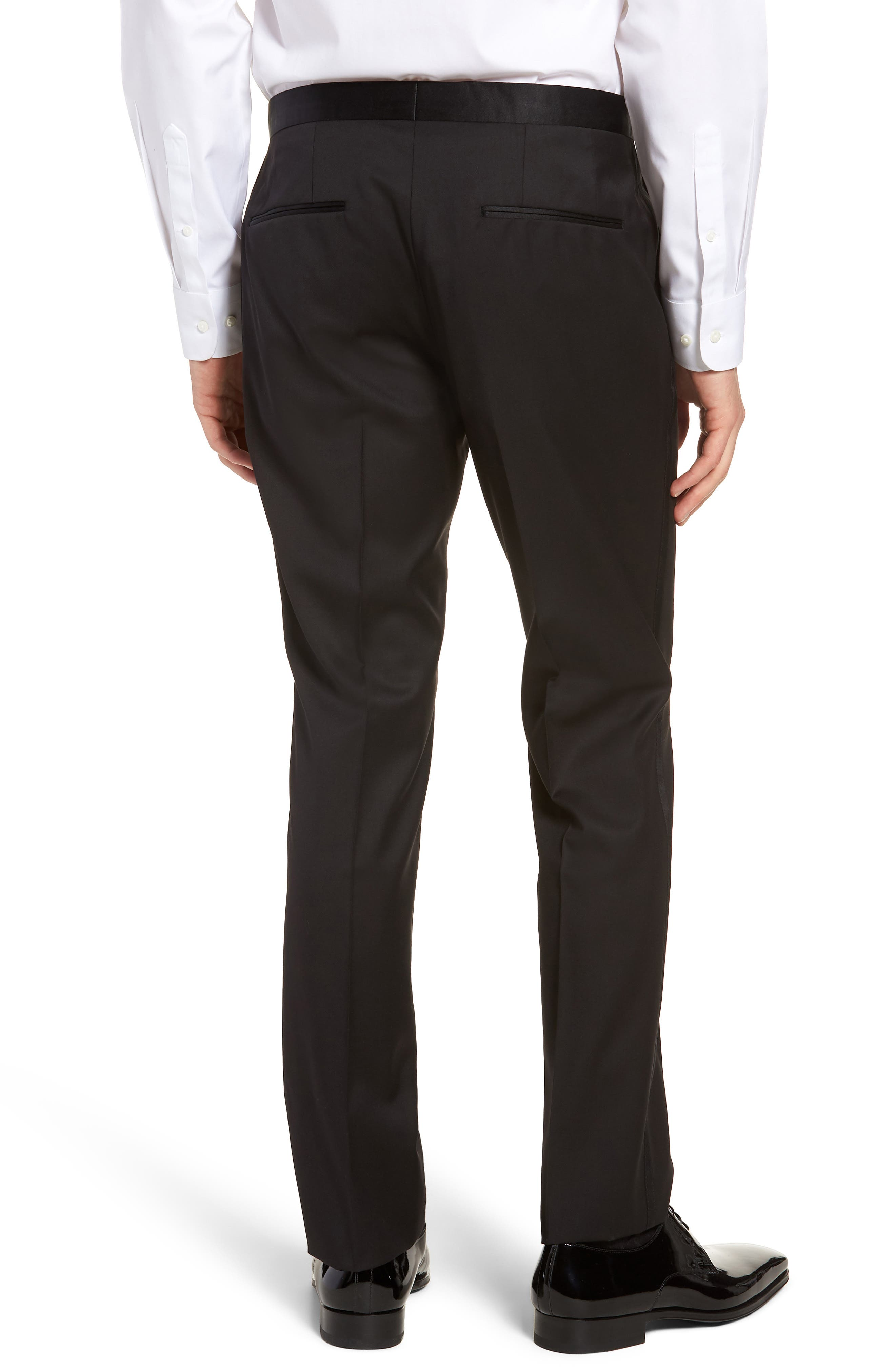 BOSS, Gilan CYL Flat Front Wool Trousers, Alternate thumbnail 2, color, BLACK
