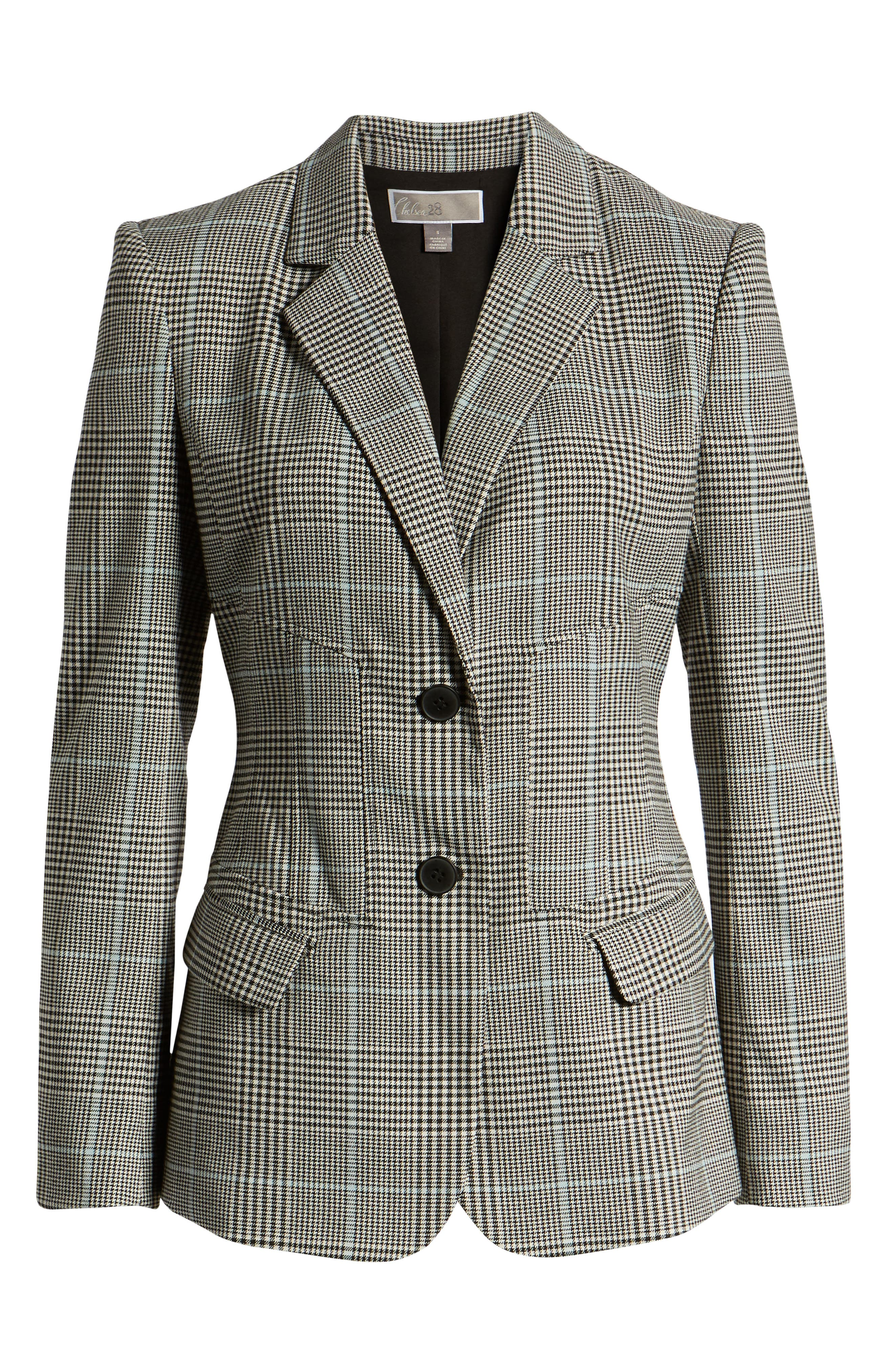 CHELSEA28, Plaid Blazer, Alternate thumbnail 6, color, BLUE OMPHALODES CHECK PATTERN