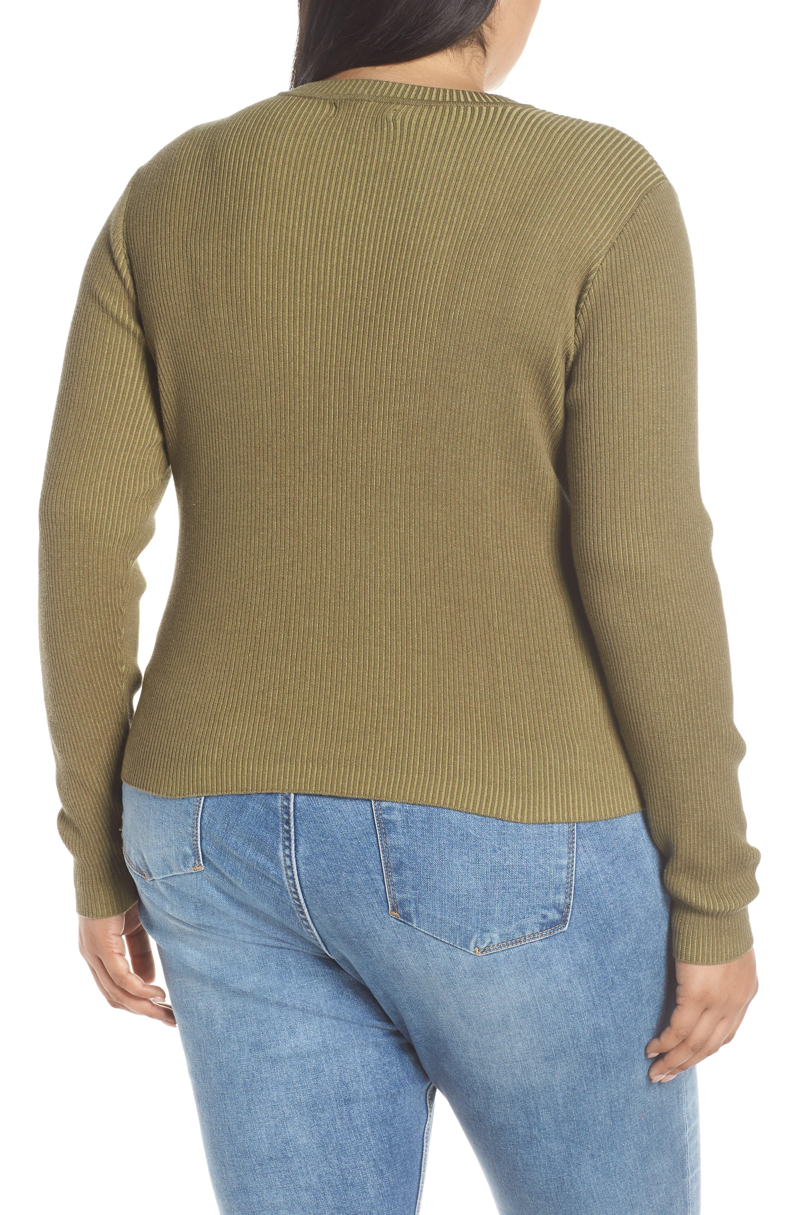 BP., Plaited Rib Sweater, Alternate thumbnail 8, color, OLIVE BURNT