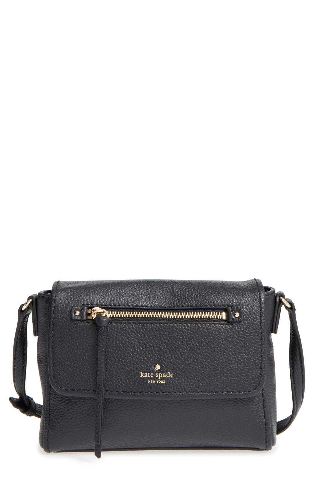 KATE SPADE NEW YORK, 'cobble hill - mini toddy' leather crossbody bag, Main thumbnail 1, color, 001