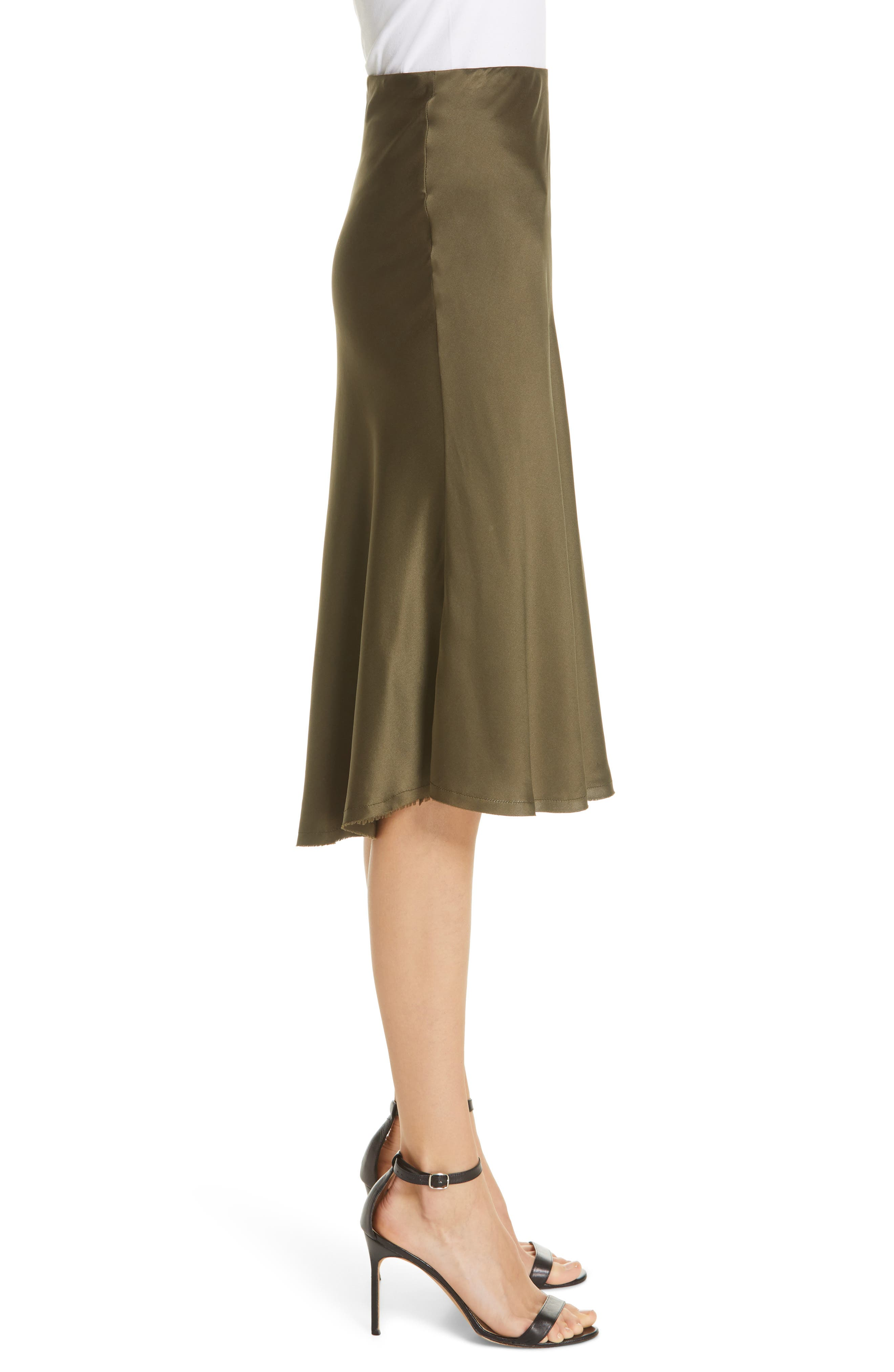 NILI LOTAN, Lane Silk Skirt, Alternate thumbnail 3, color, ARMY GREEN