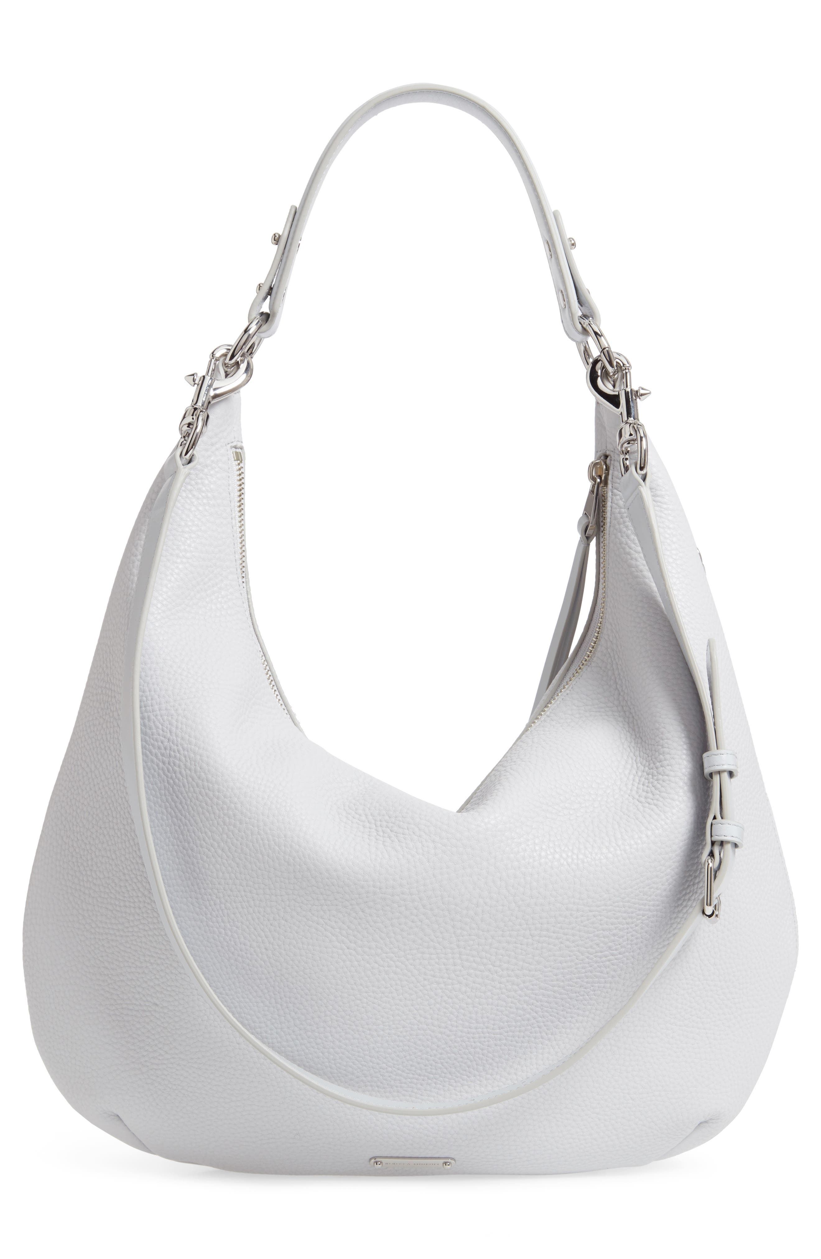 REBECCA MINKOFF, Michelle Leather Hobo, Alternate thumbnail 4, color, ICE GREY