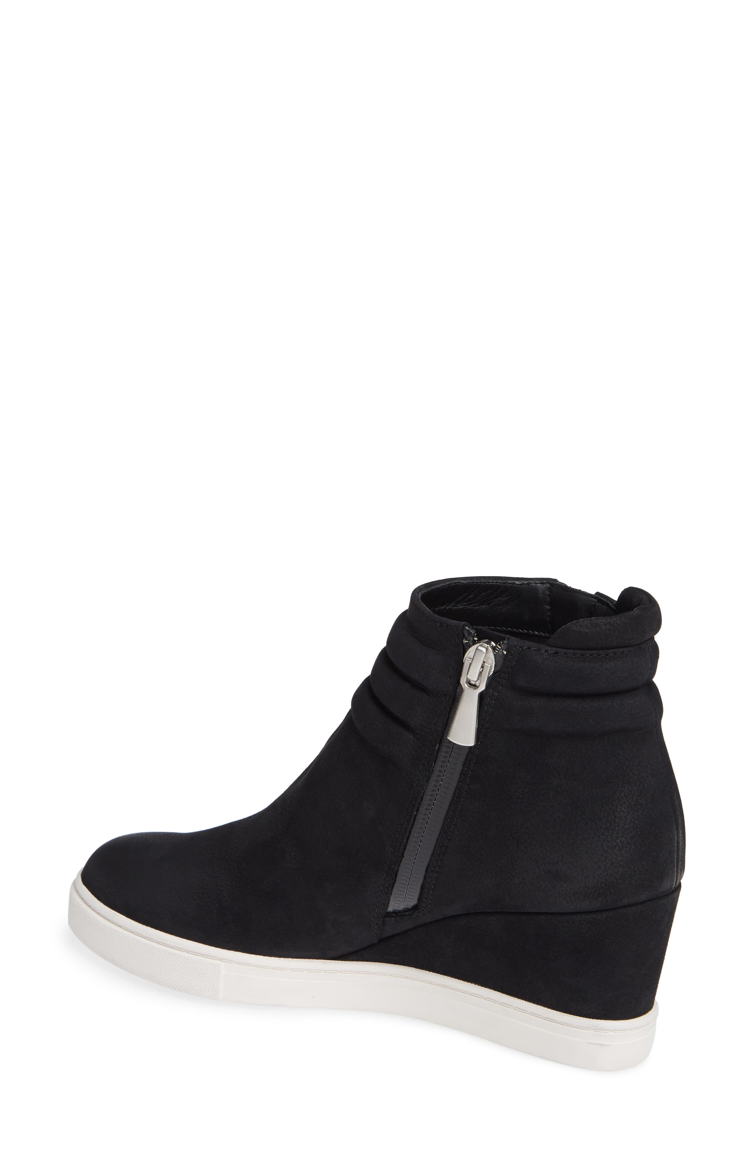 LINEA PAOLO, Flo Waterproof Wedge Bootie, Alternate thumbnail 2, color, BLACK LEATHER