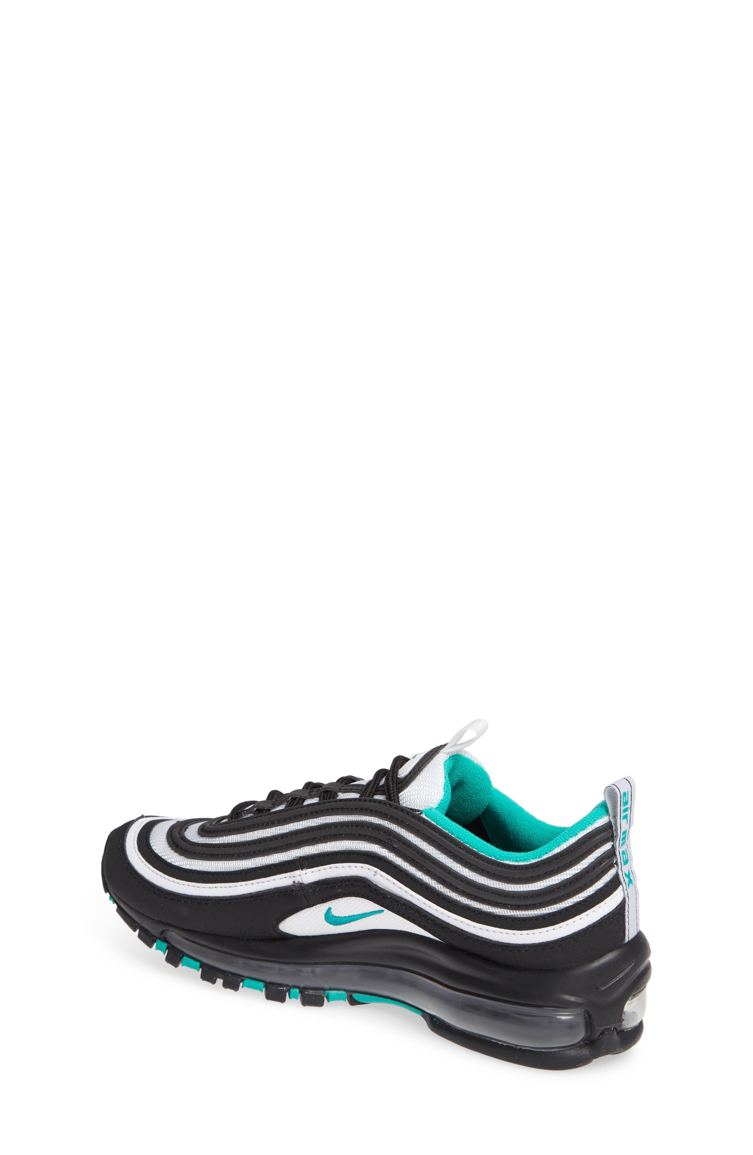 NIKE, Air Max 97 Sneaker, Alternate thumbnail 2, color, BLACK/ CLEAR EMERALD-WHITE