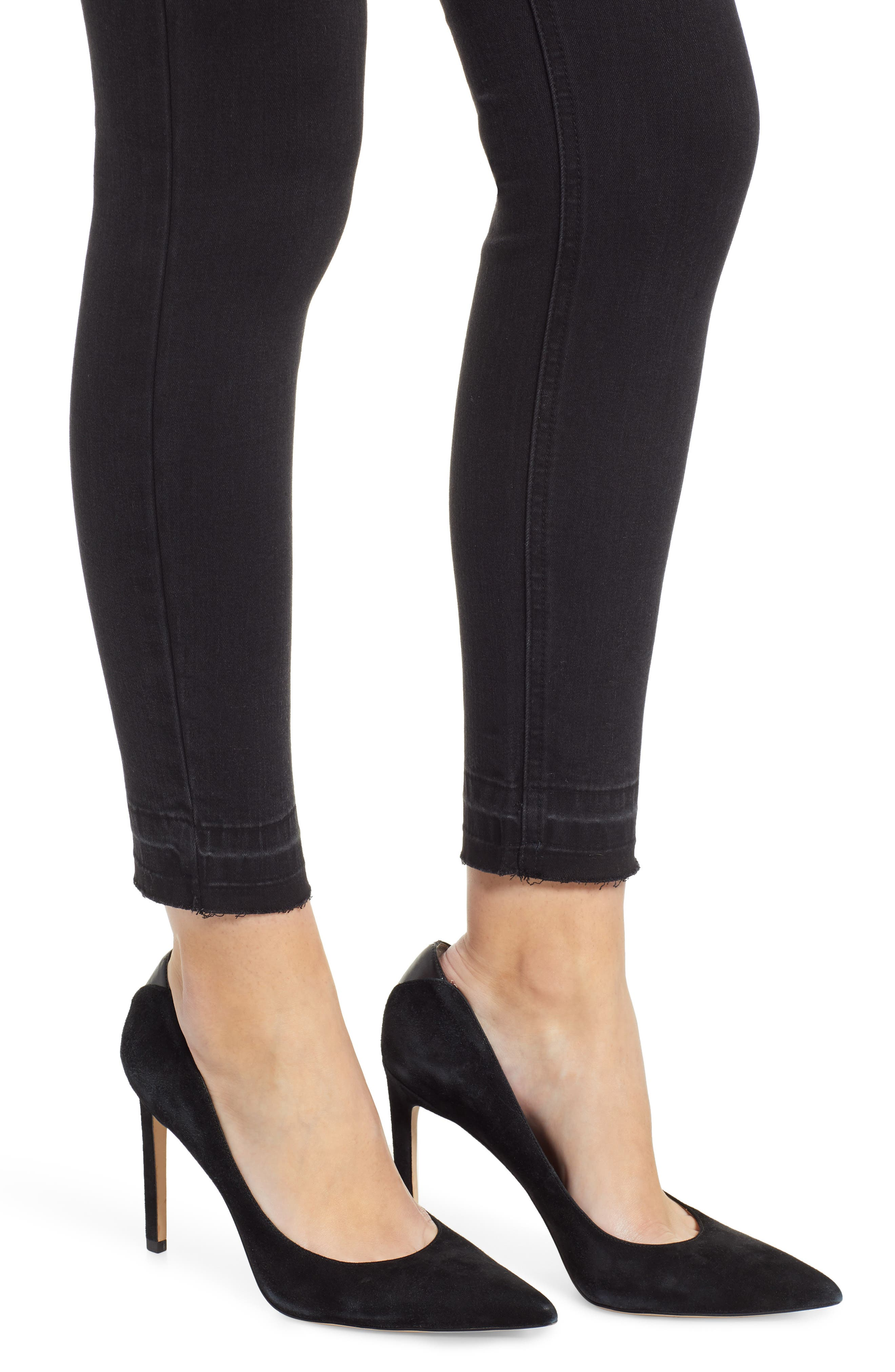PROSPERITY DENIM, Release Hem Skinny Jeans, Alternate thumbnail 5, color, BLACK