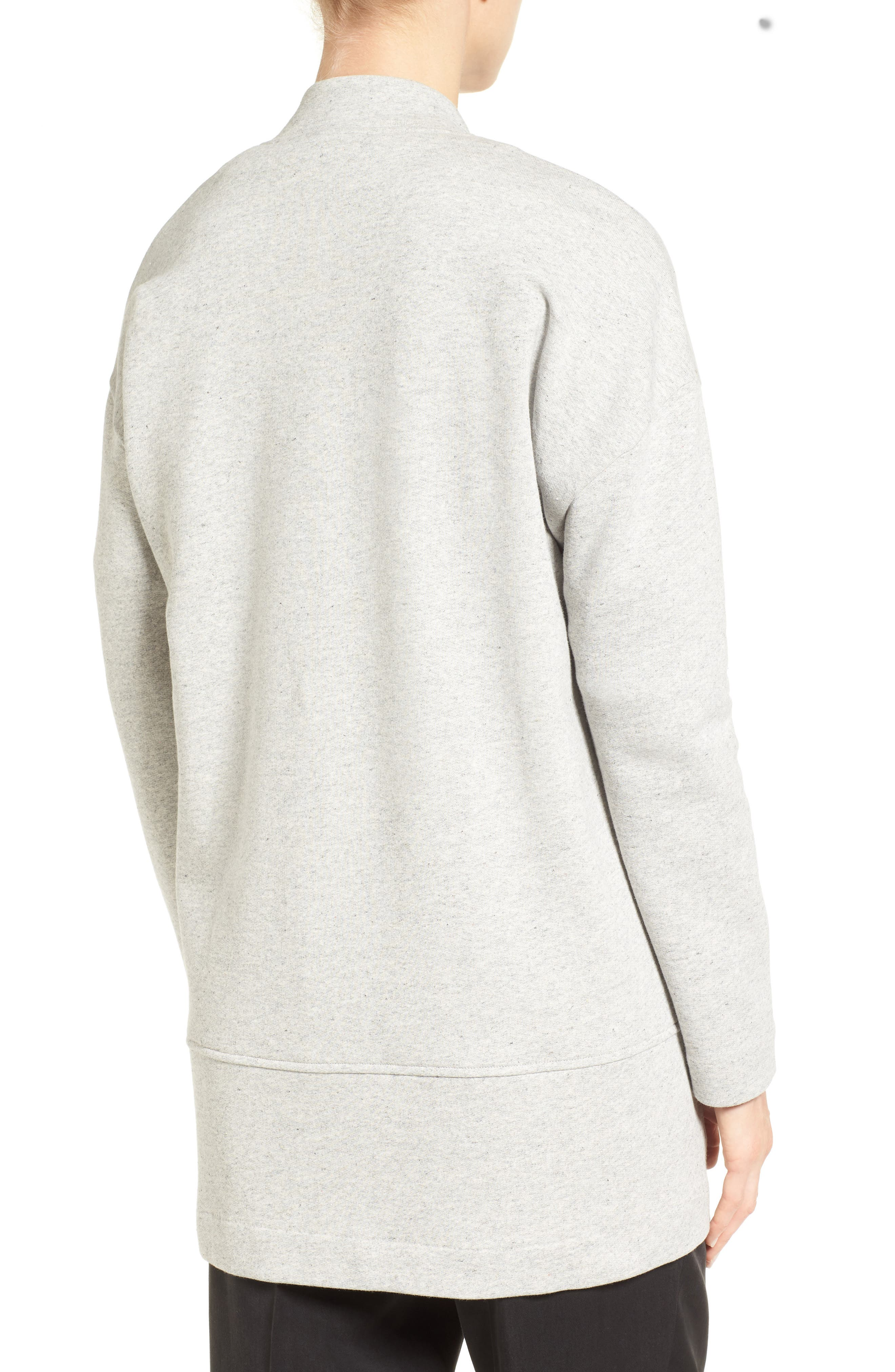 EILEEN FISHER, Brushed Back French Terry Jacket, Alternate thumbnail 2, color, DARK PEARL