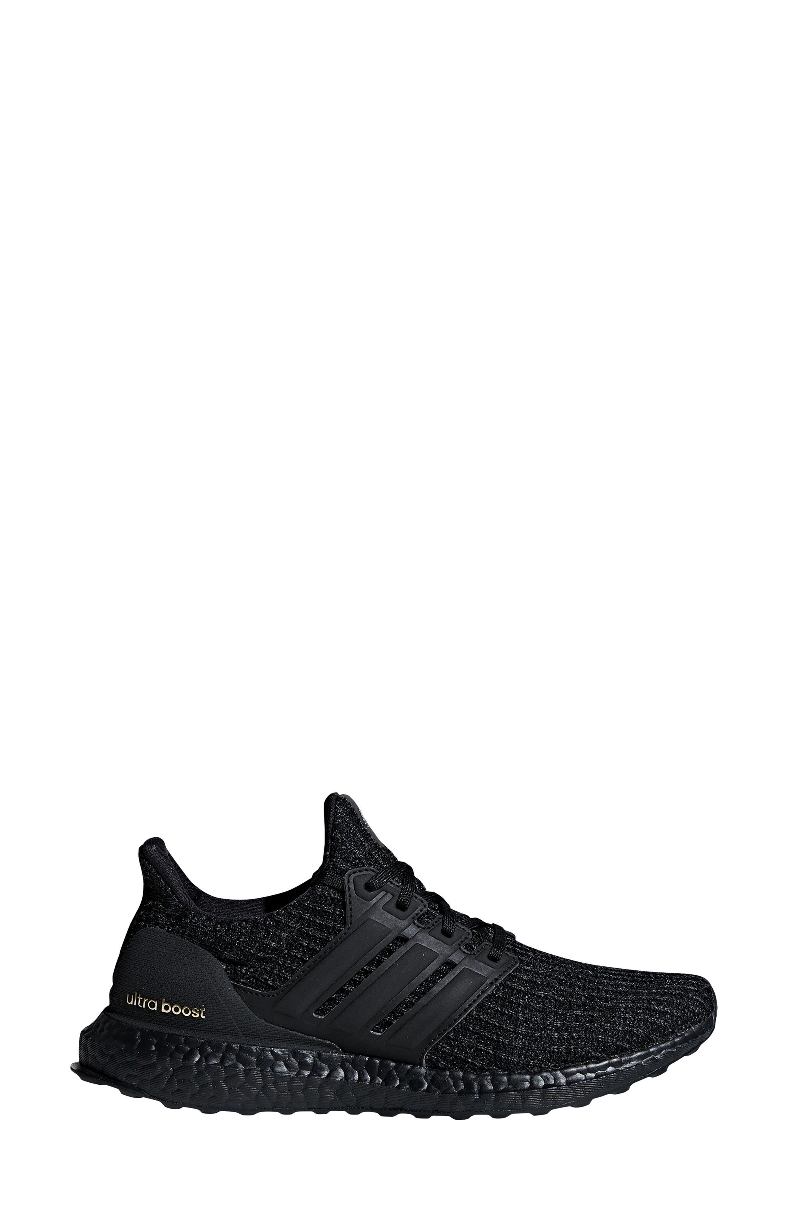 ADIDAS, 'UltraBoost' Running Shoe, Alternate thumbnail 3, color, CORE BLACK/ GOLD METALLIC