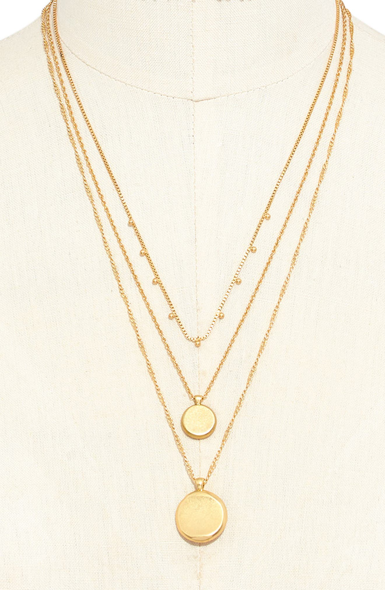 MADEWELL, Coin Layered Necklace, Alternate thumbnail 3, color, VINTAGE GOLD