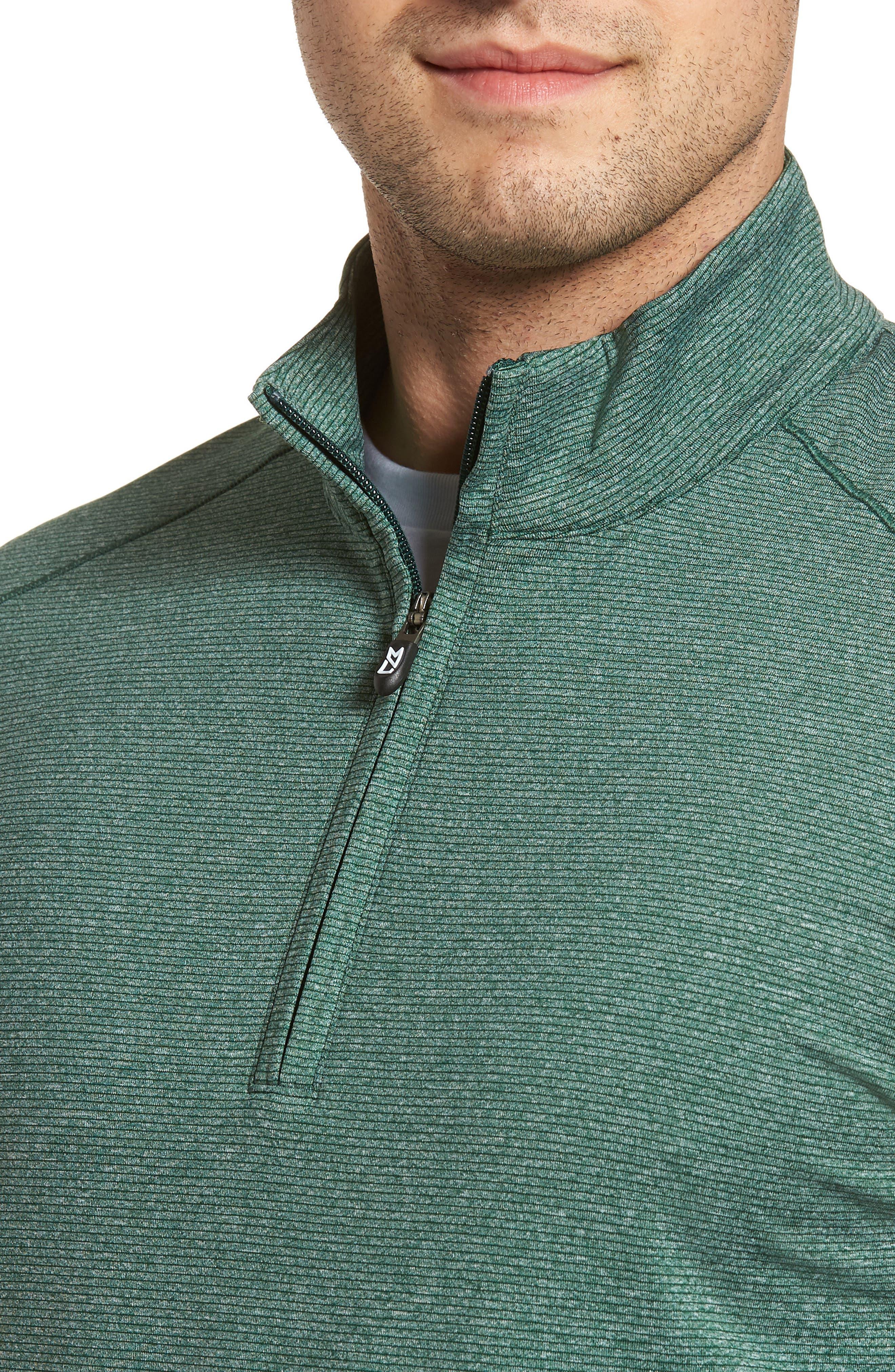 CUTTER & BUCK, Shoreline Classic Fit Half Zip Pullover, Alternate thumbnail 4, color, HUNTER HEATHER