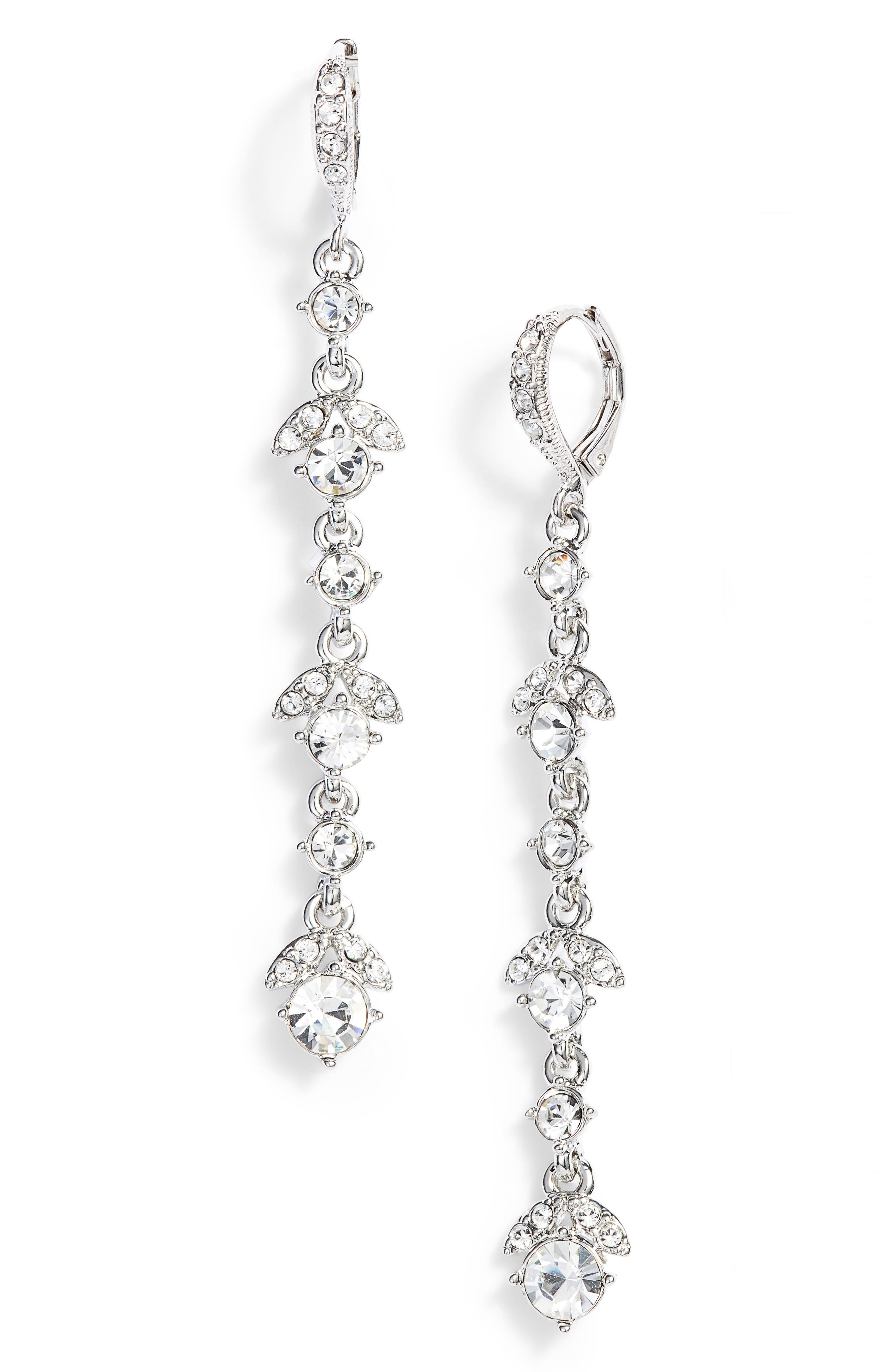 GIVENCHY Crystal Linear Drop Earrings, Main, color, SILVER/ CRYSTAL
