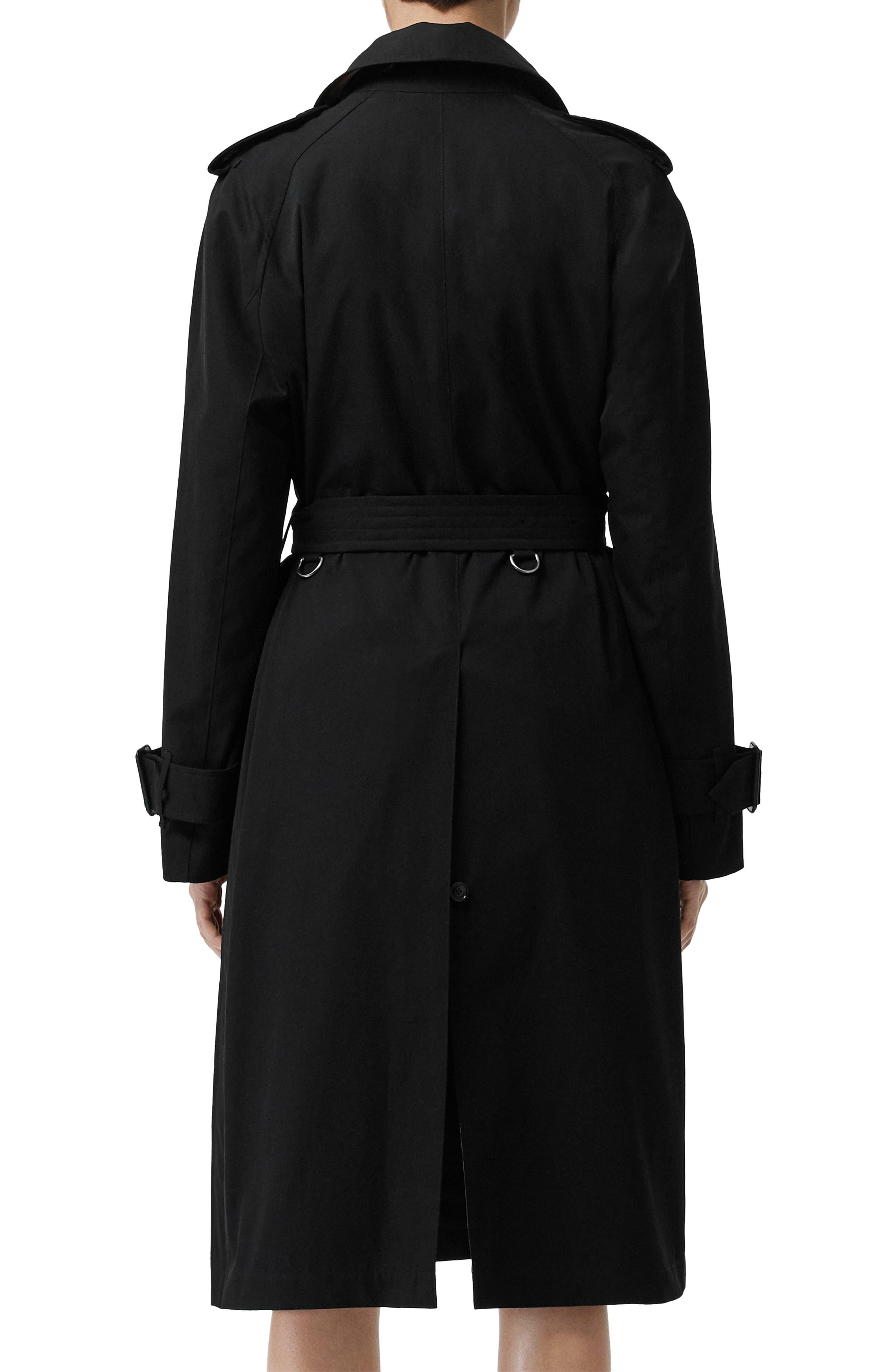 BURBERRY, Crostwick Side Slit Tropical Gabardine Trench Coat, Alternate thumbnail 6, color, BLACK