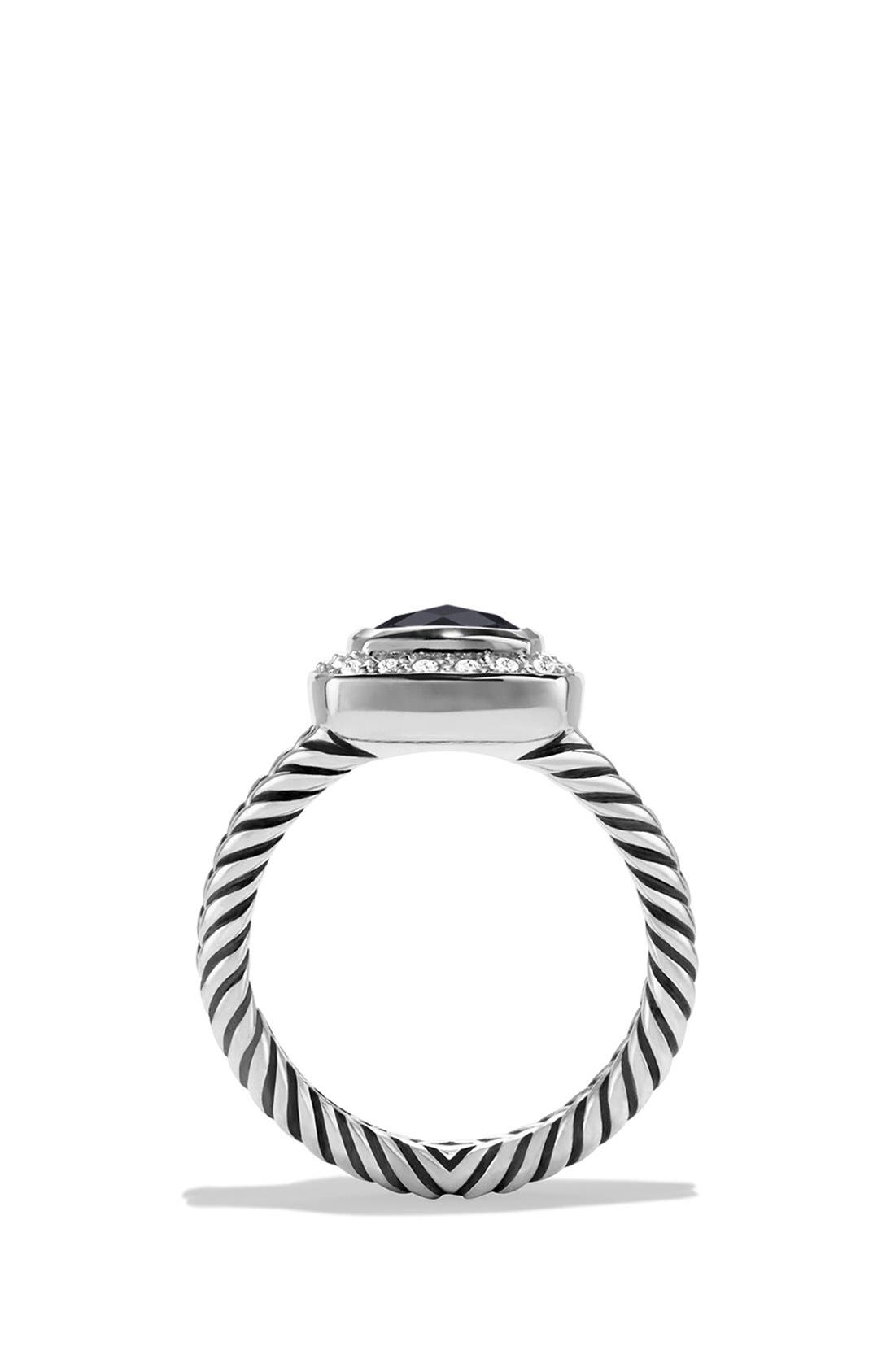 DAVID YURMAN, 'Albion' Petite Ring with Semiprecious Stone & Diamonds, Alternate thumbnail 3, color, BLACK ONYX