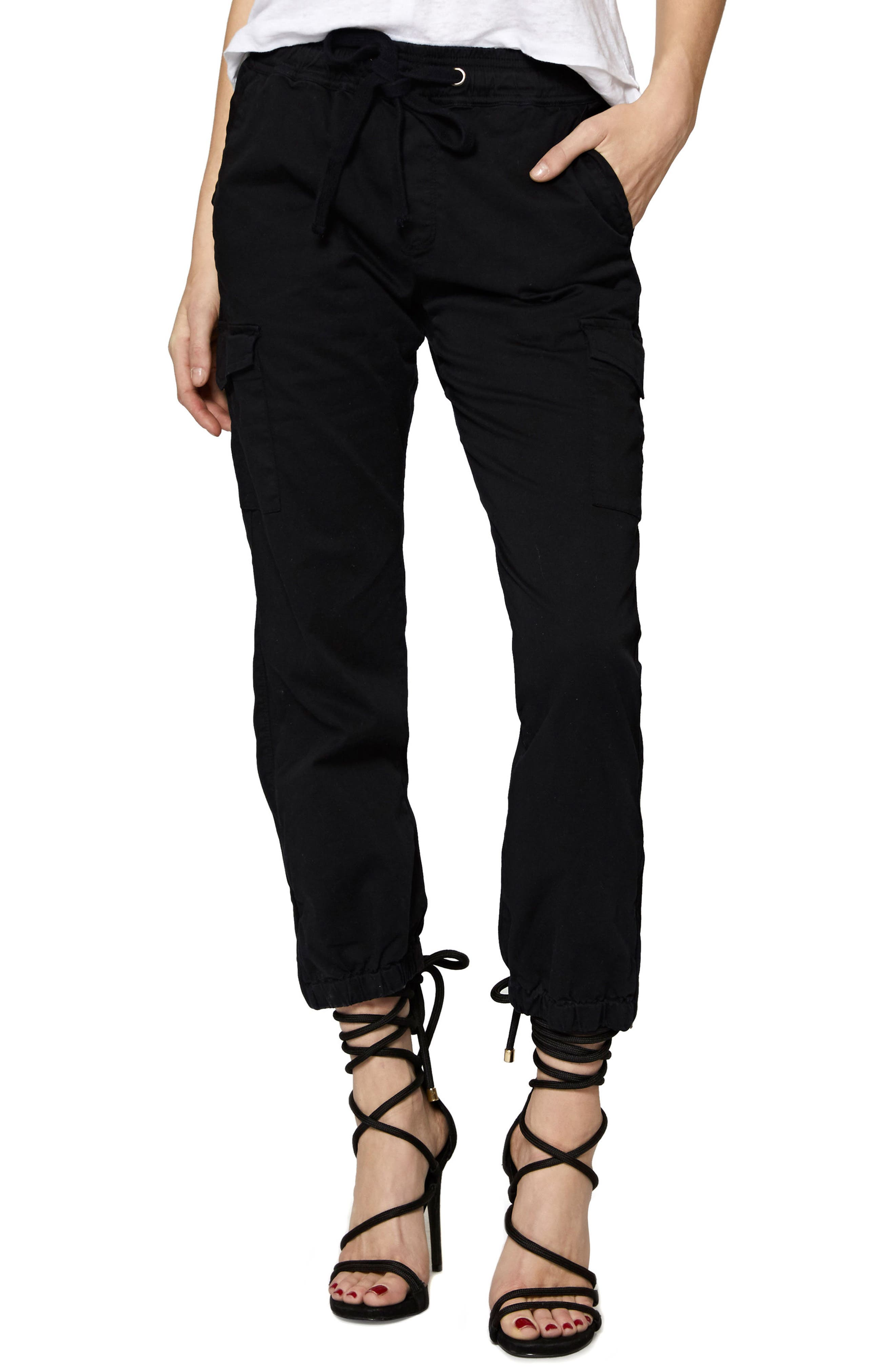 SANCTUARY Drawstring Trooper Pants, Main, color, BLACK
