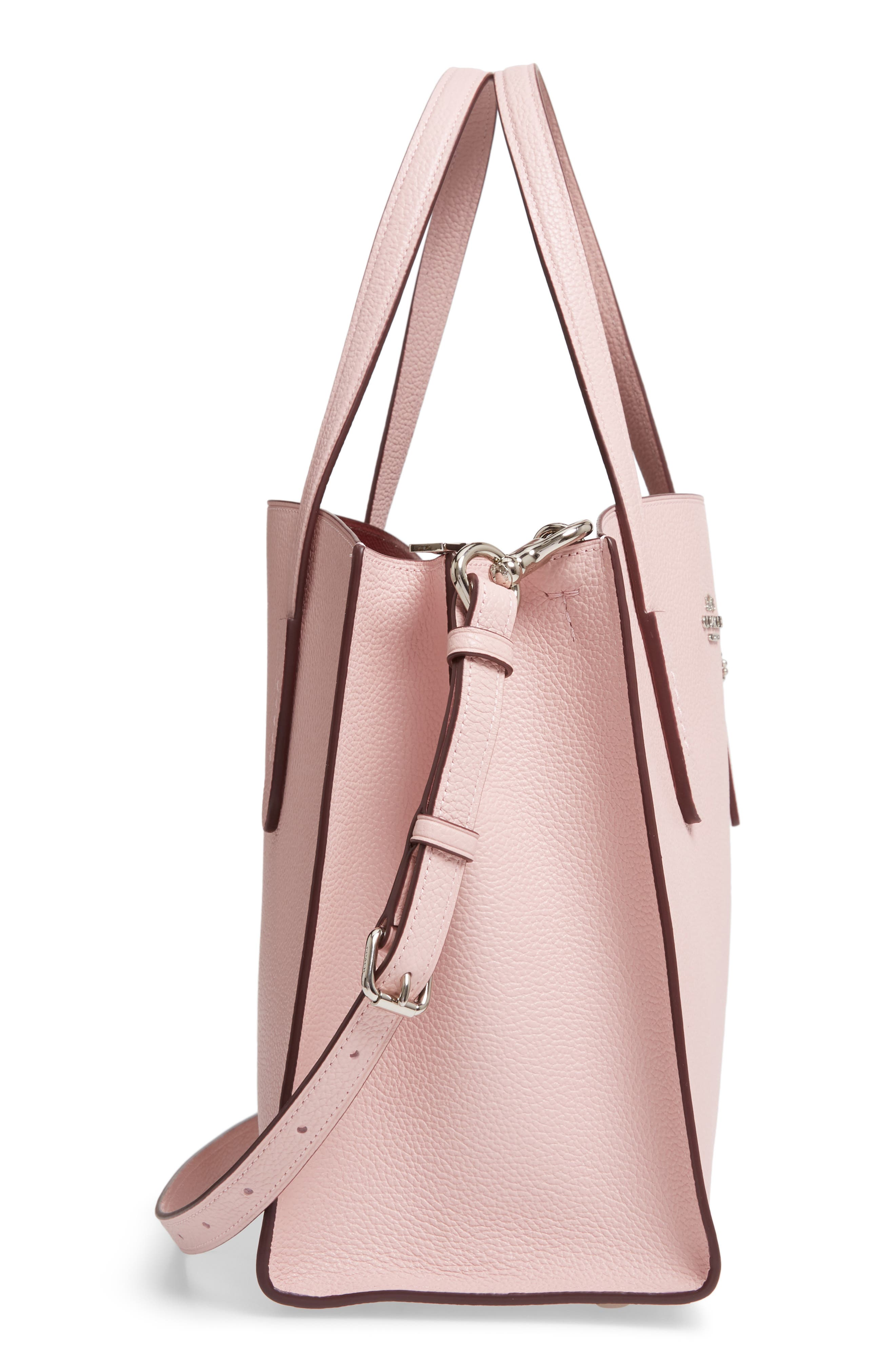 COACH, Charlie Leather Tote, Alternate thumbnail 6, color, BLOSSOM/ SILVER