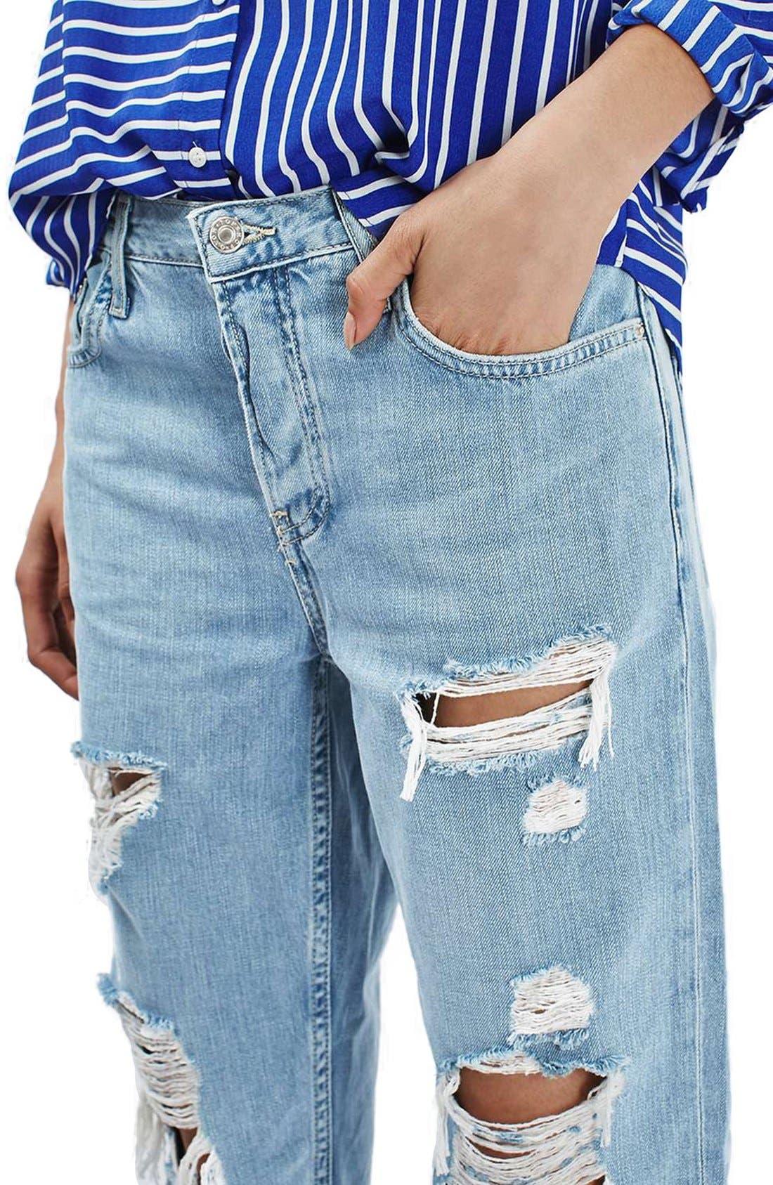 TOPSHOP, 'Hayden' Super Ripped Boyfriend Jeans, Alternate thumbnail 3, color, 420