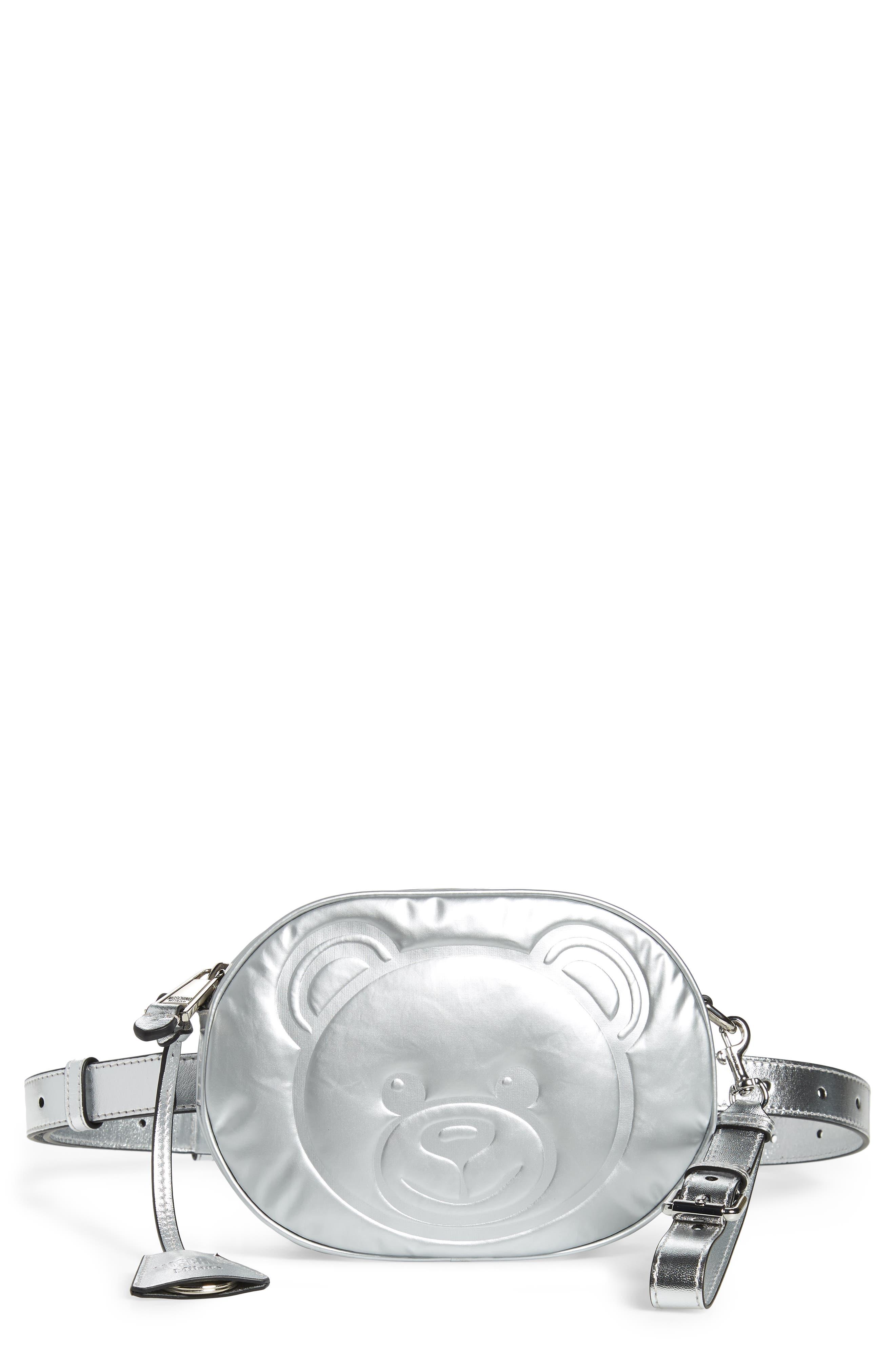 MOSCHINO Silver Teddy Belt Bag, Main, color, SILVER