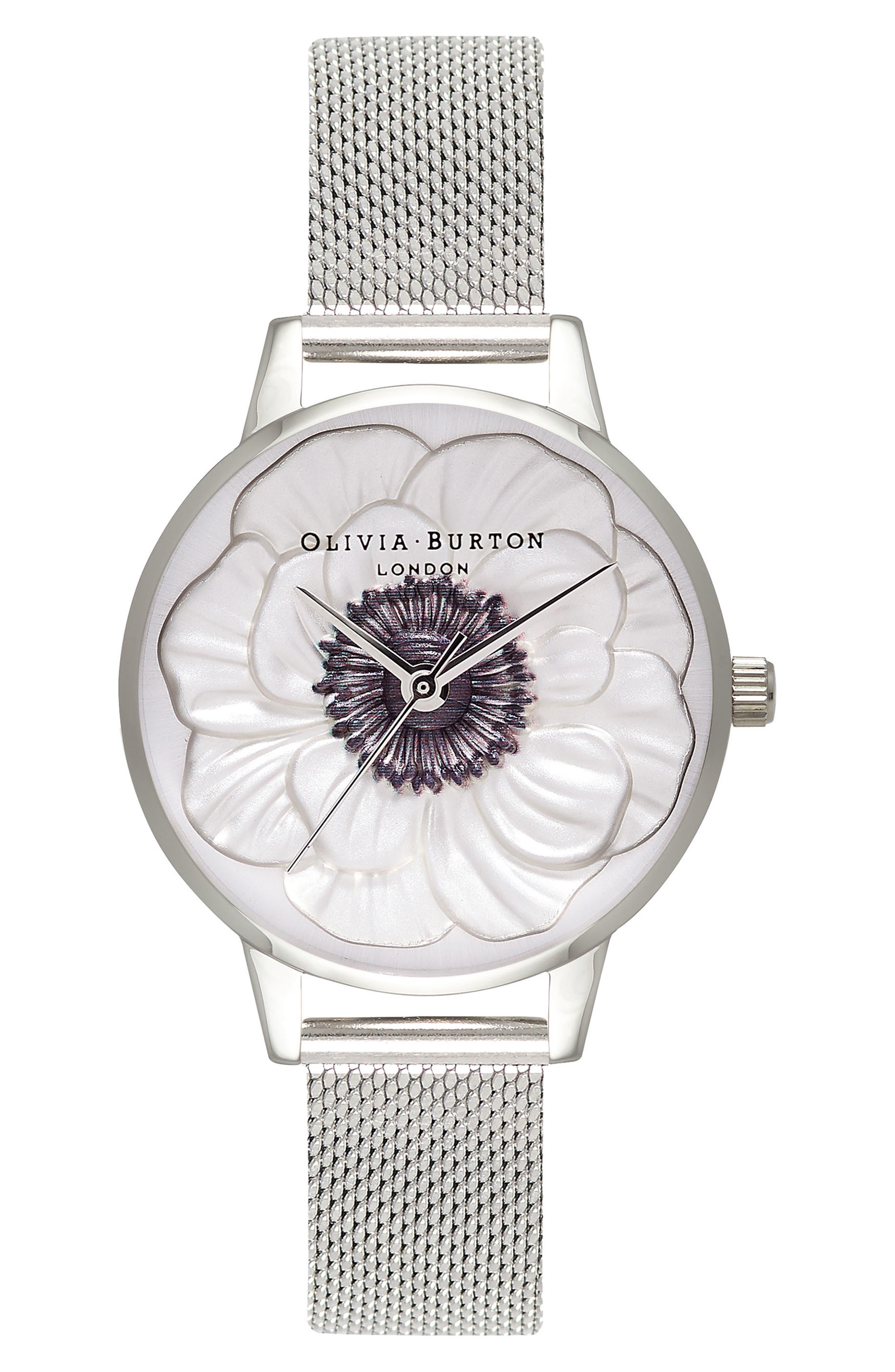 OLIVIA BURTON, 3D Anemone Mesh Strap Watch, 30mm, Main thumbnail 1, color, 040
