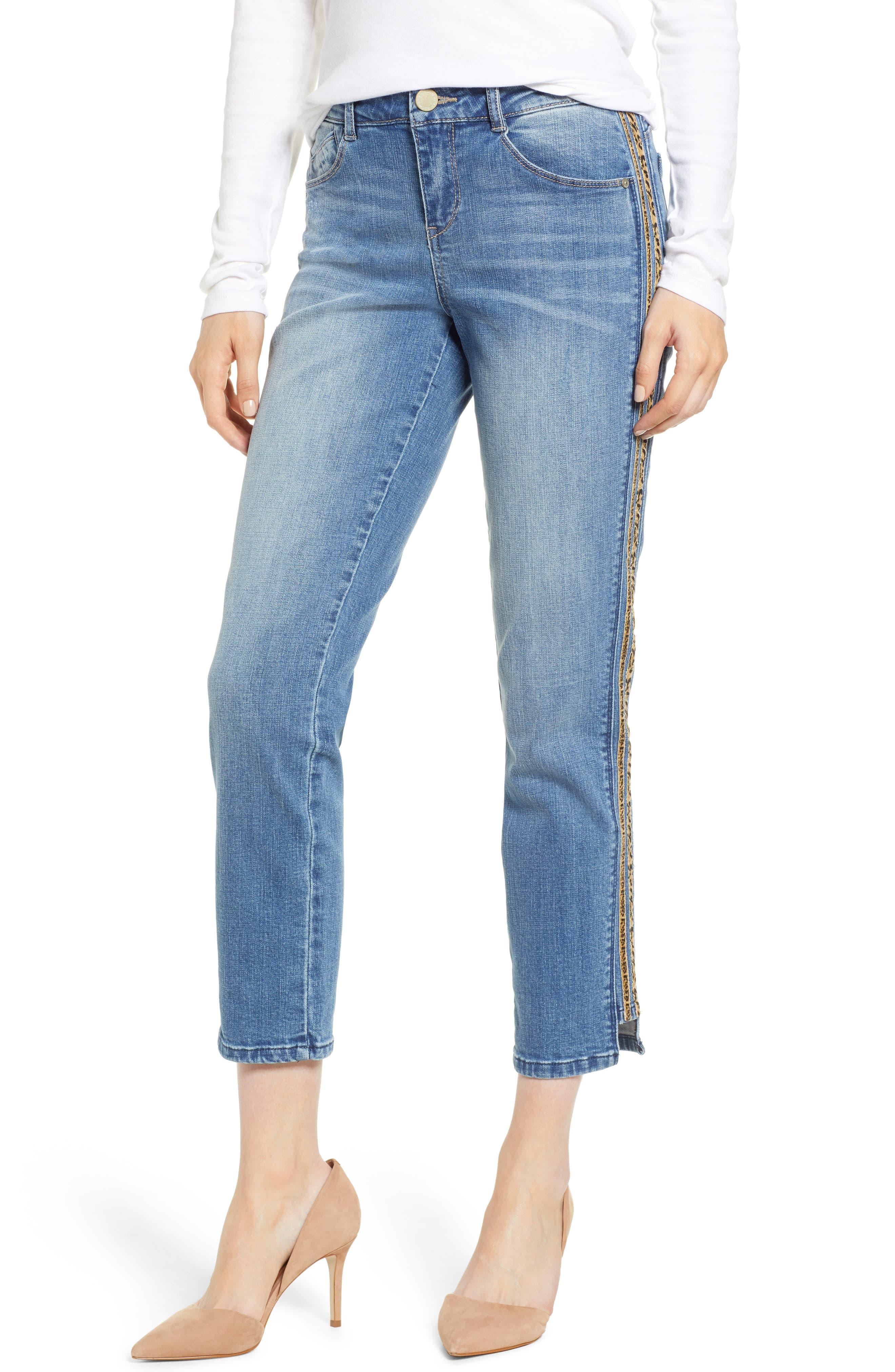 WIT & WISDOM, Flex-ellent Leopard Stripe Slim Straight Leg Jeans, Main thumbnail 1, color, 420