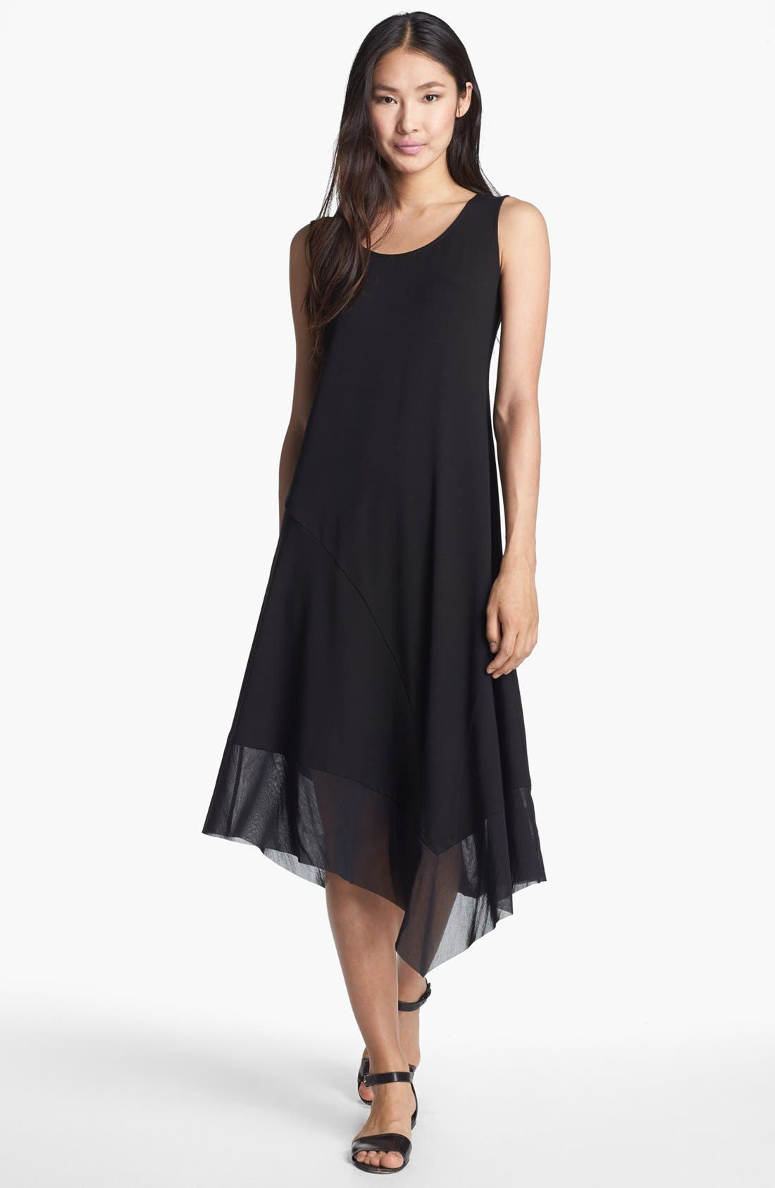 EILEEN FISHER Scoop Neck Asymmetrical Dress, Main, color, 001
