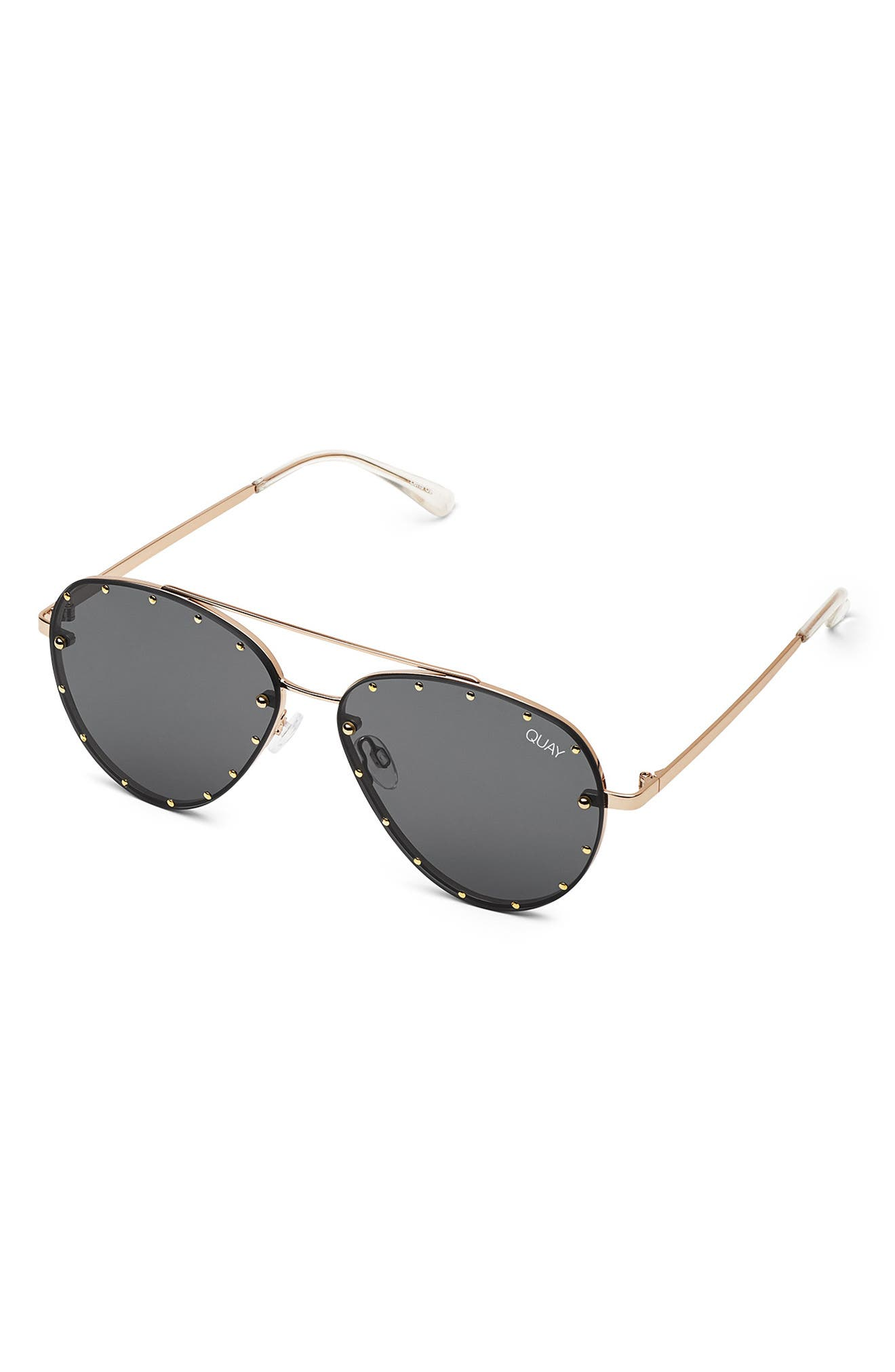 QUAY AUSTRALIA, x Jaclyn Hill Roxanne 62mm Stud Aviator Sunglasses, Alternate thumbnail 3, color, GOLD / SMOKE