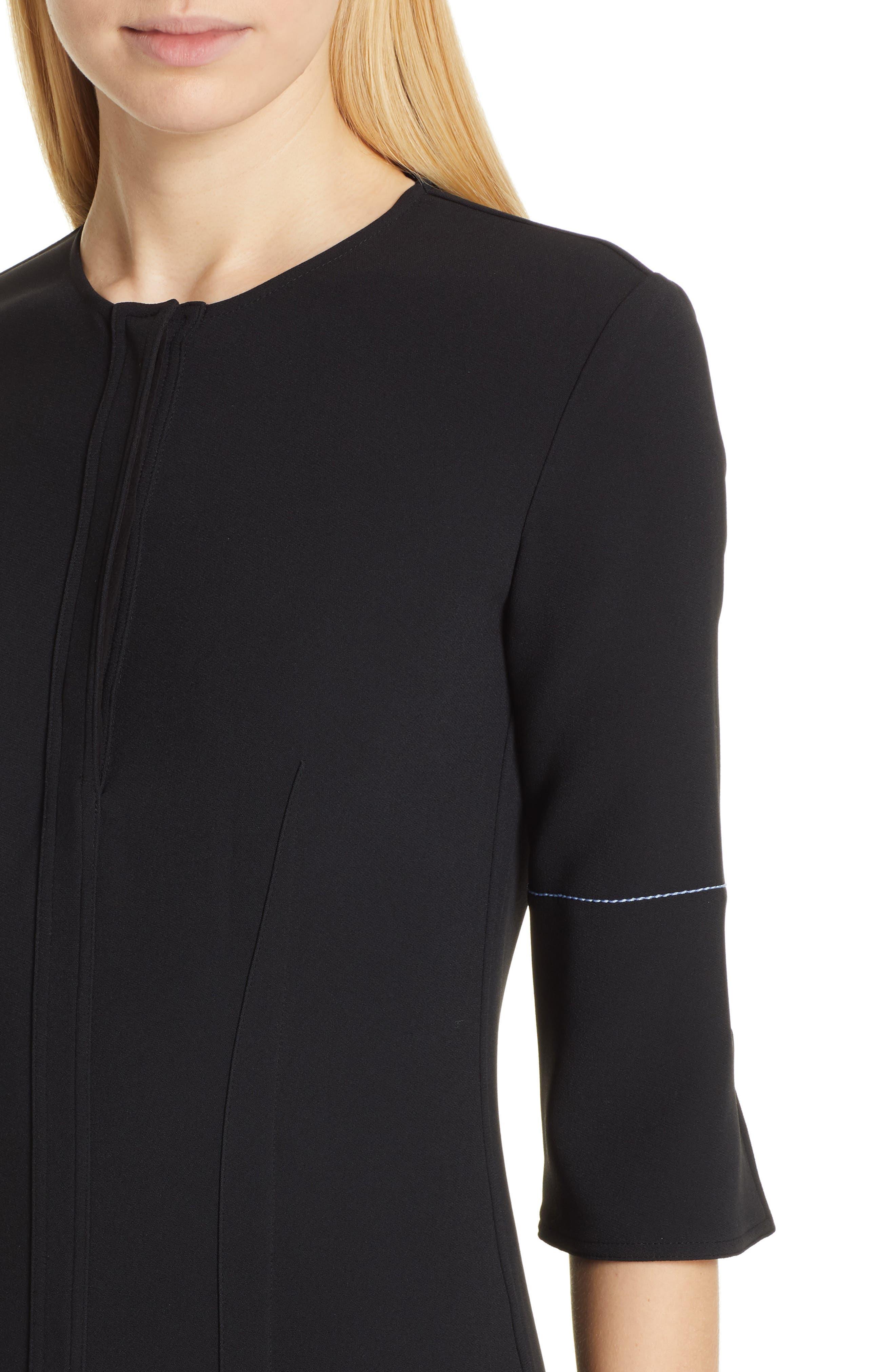VICTORIA BECKHAM, Contrast Stitch Crepe Dress, Alternate thumbnail 5, color, BLACK