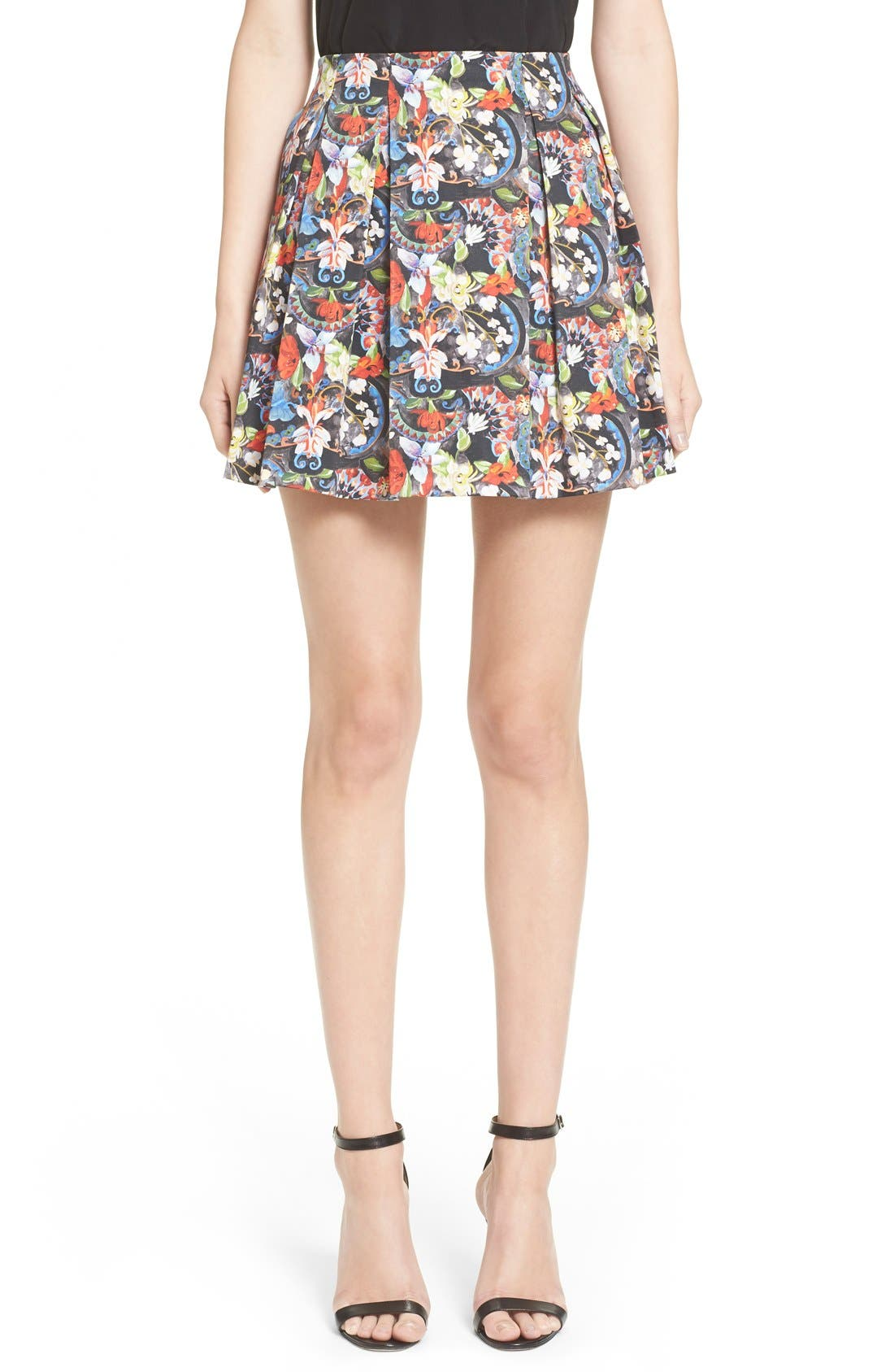 ALICE + OLIVIA, 'Parson' Floral Print Pleated Miniskirt, Main thumbnail 1, color, 605