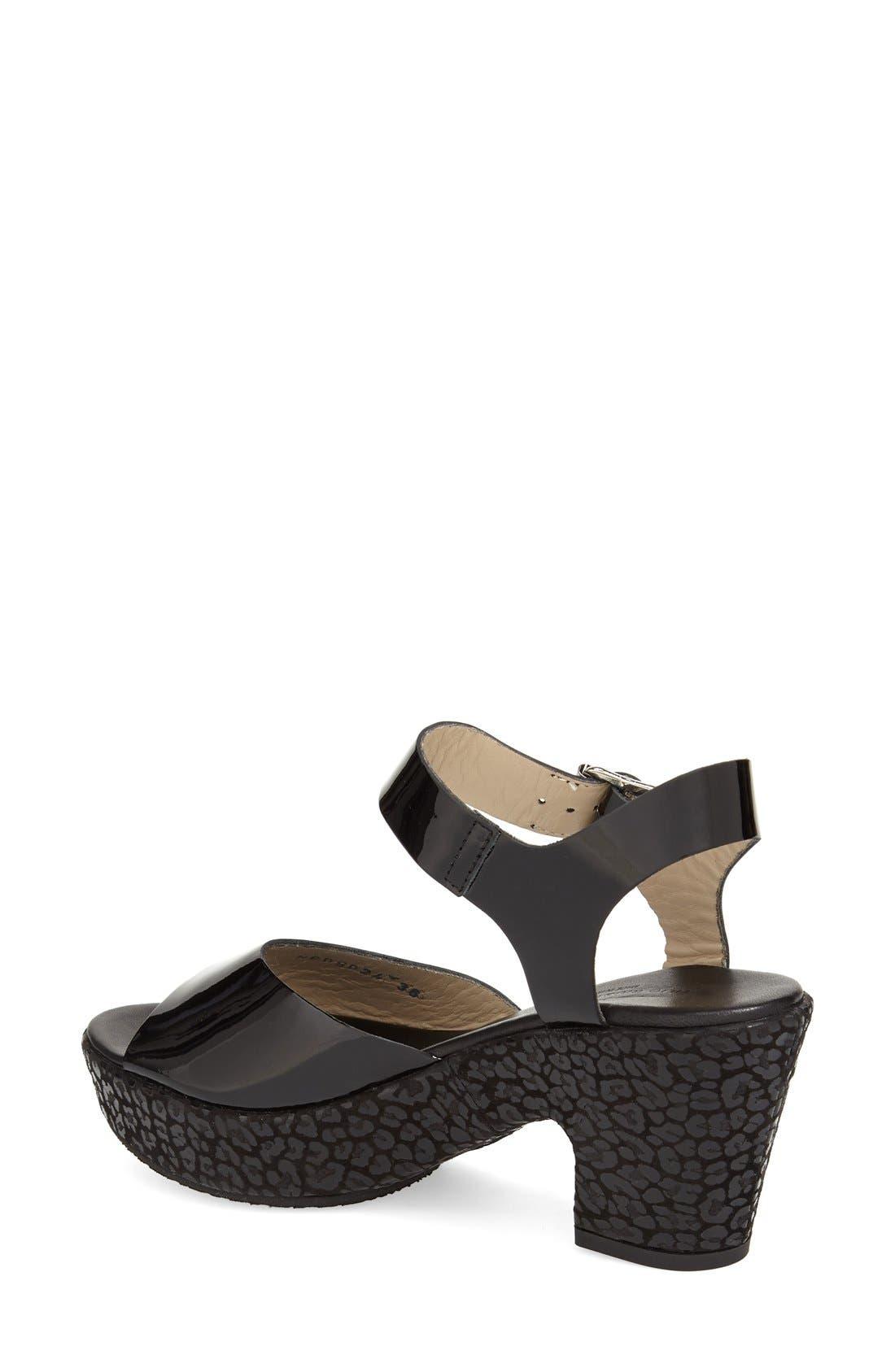 AGL, 'Sylvia' Platform Wedge Sandal, Alternate thumbnail 4, color, 001