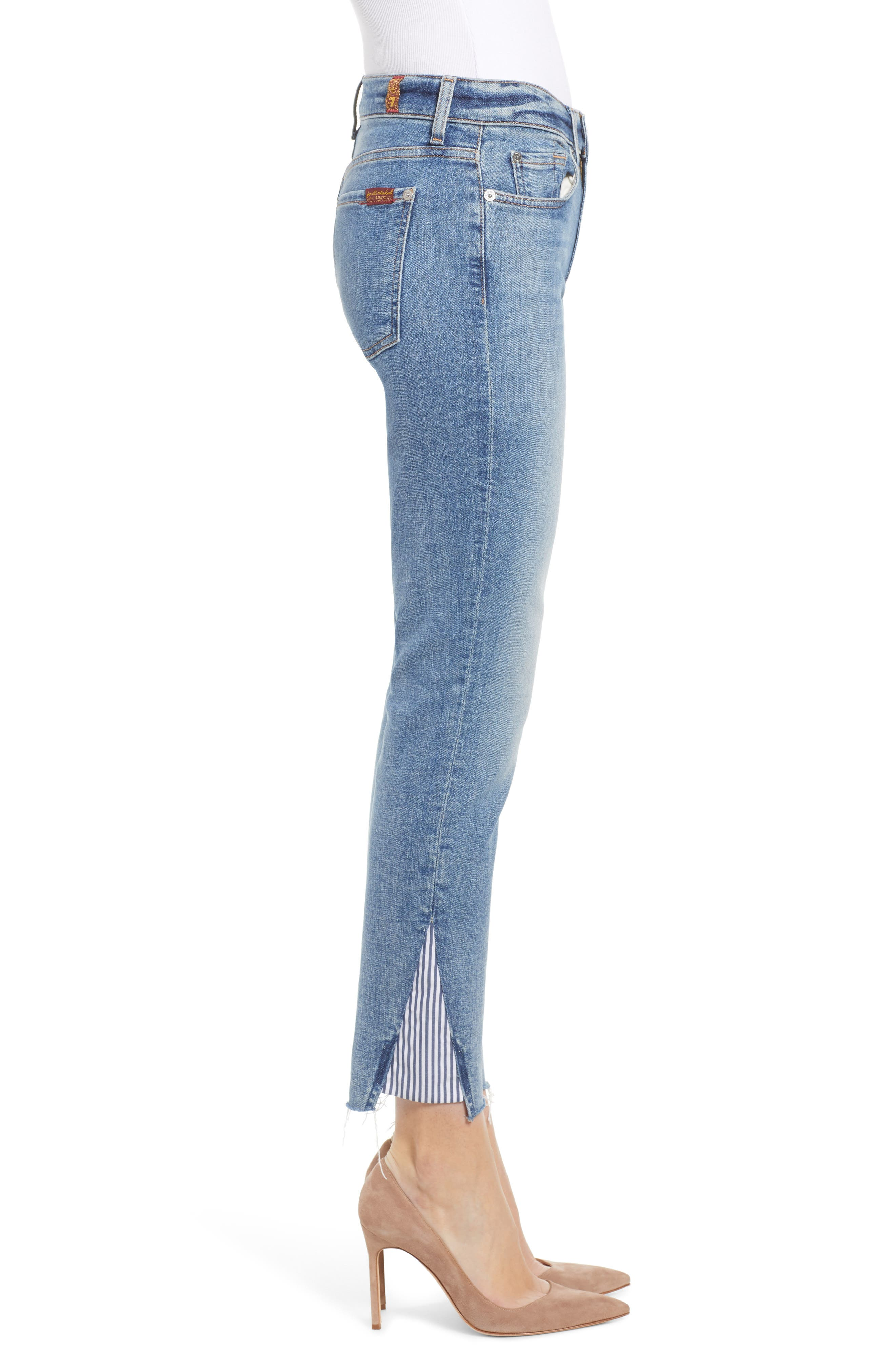 7 FOR ALL MANKIND<SUP>®</SUP>, Stripe Inset Ankle Skinny Jeans, Alternate thumbnail 4, color, SLOANE VINTAGE