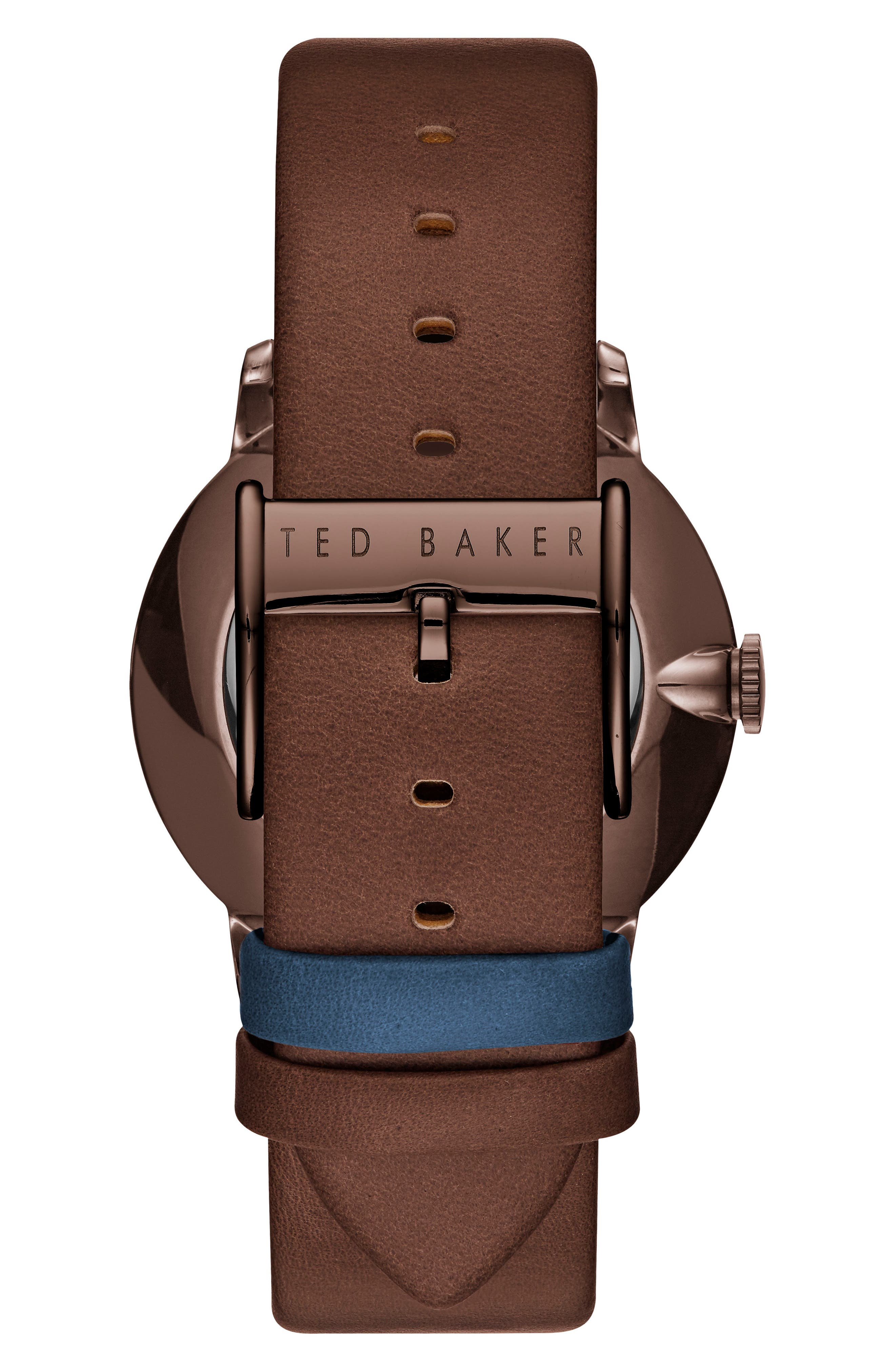 TED BAKER LONDON, James Multifunction Leather Strap Watch, 42mm, Alternate thumbnail 2, color, NAVY/ TAN