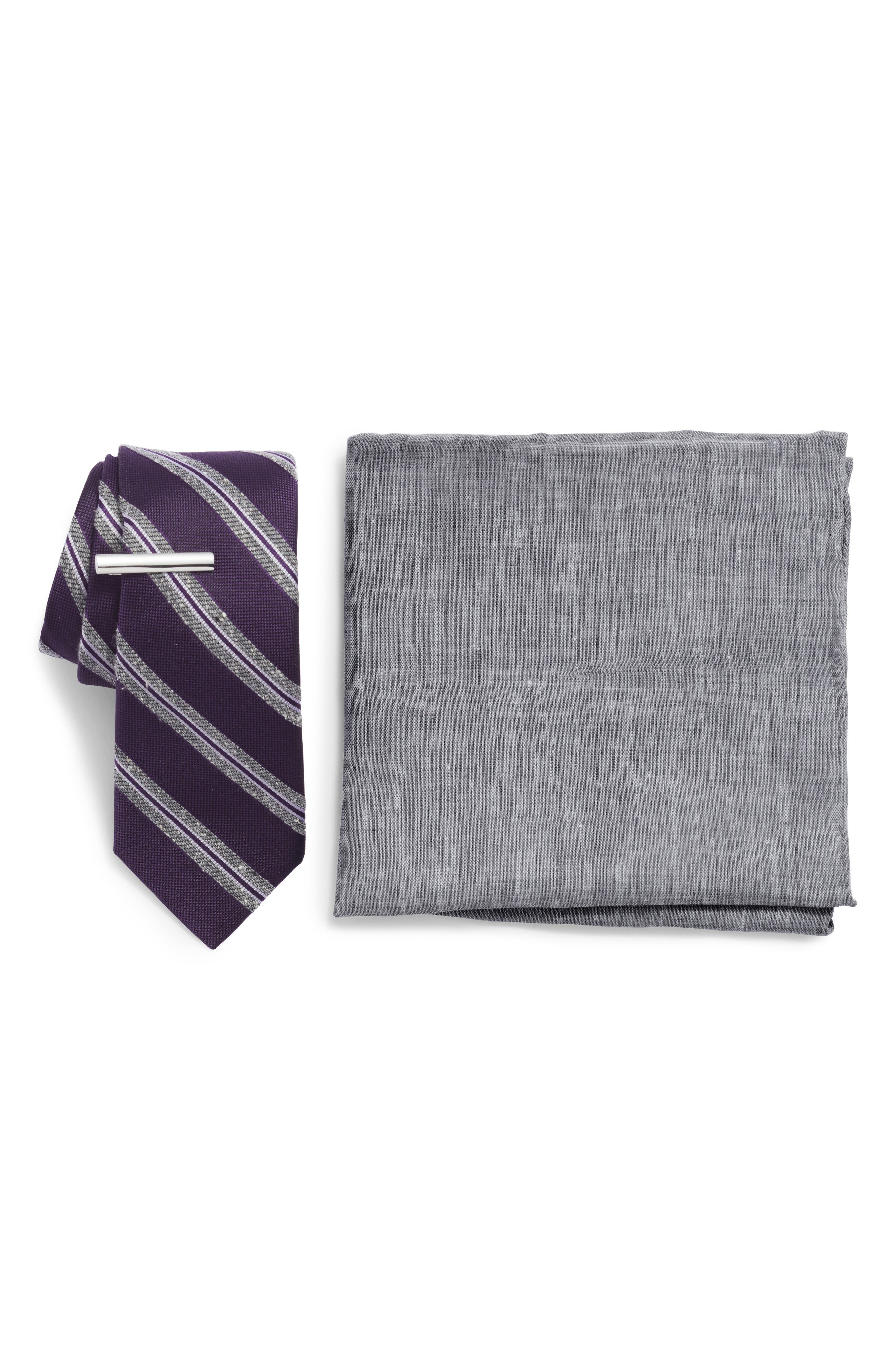 THE TIE BAR Edison Stripe 3-Piece Skinny Tie Style Box, Main, color, EGGPLANT
