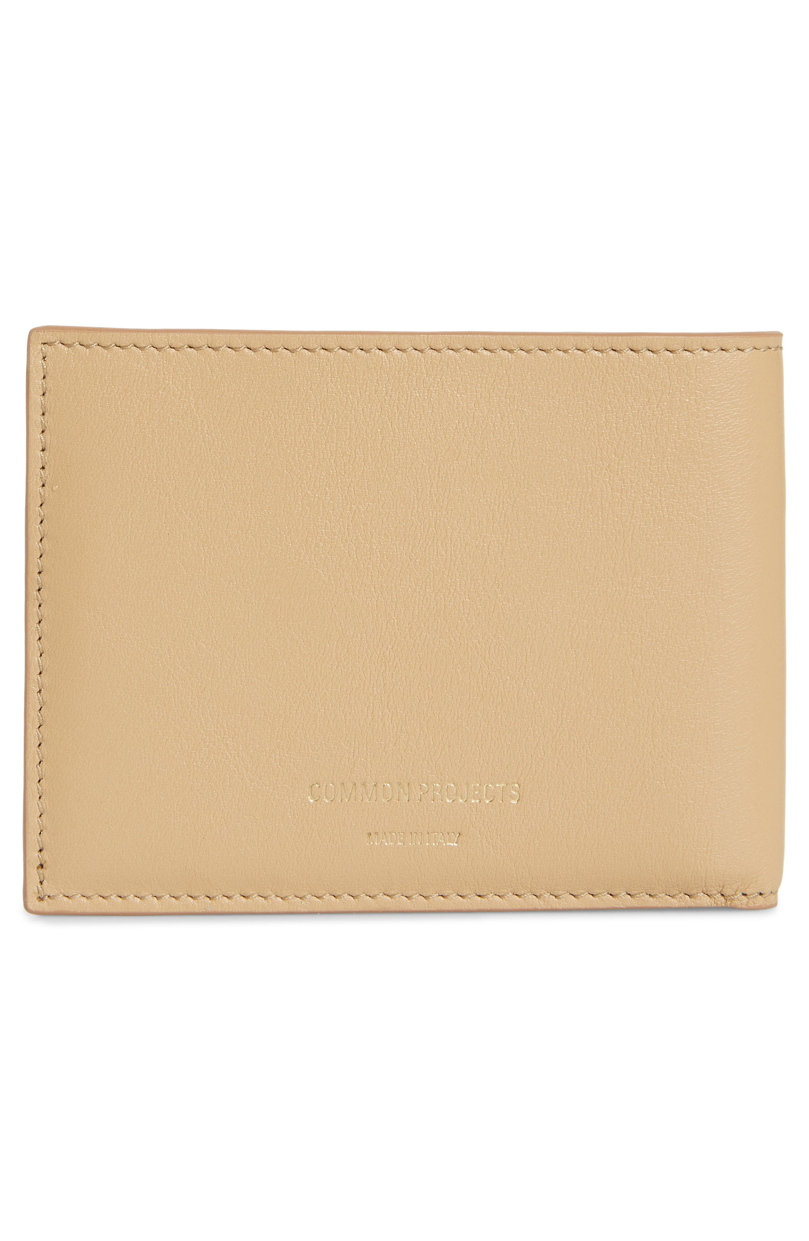 COMMON PROJECTS, Bifold Nappa Leather Wallet, Alternate thumbnail 3, color, TAN