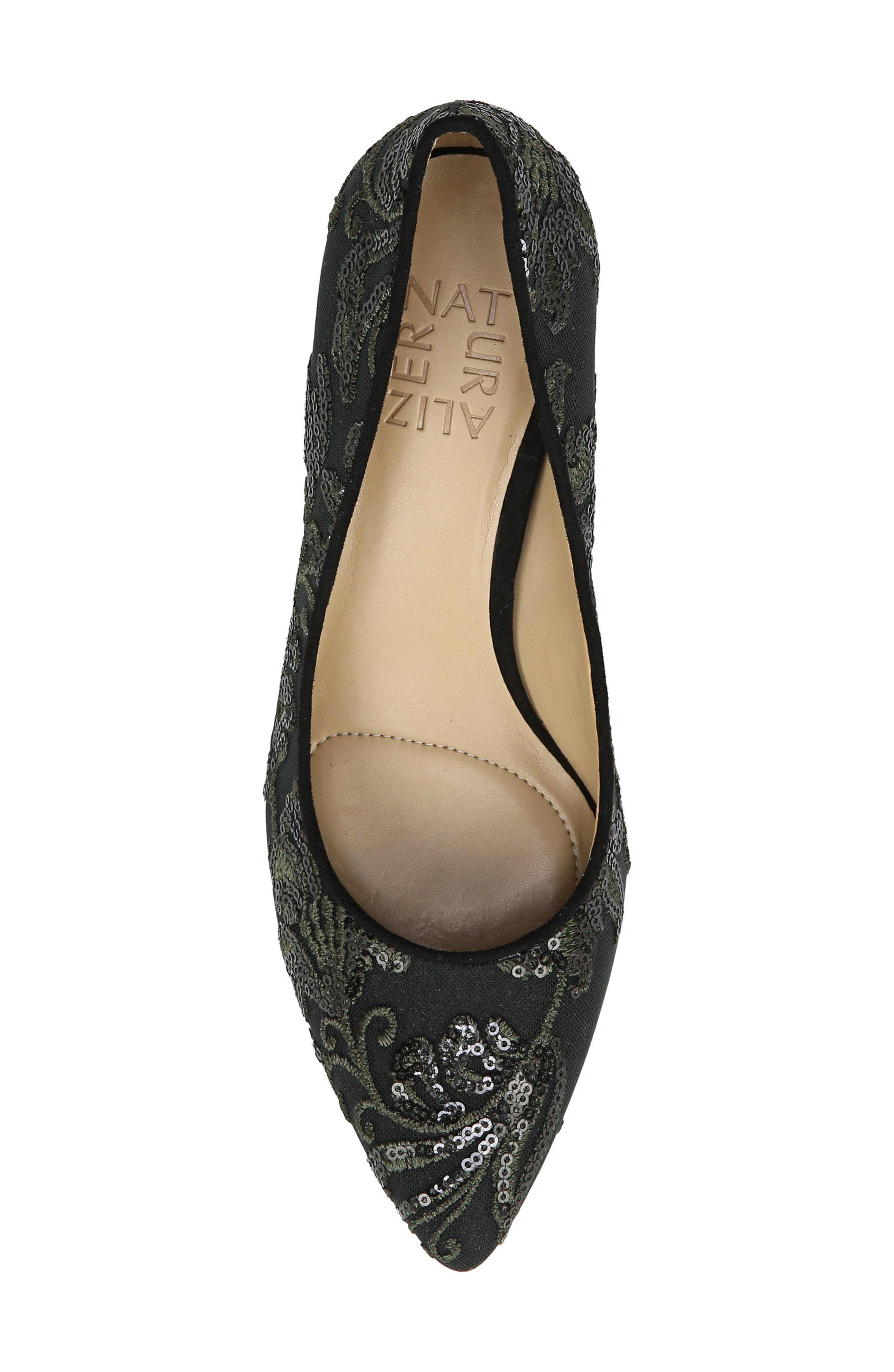 NATURALIZER, Natalie Pointy Toe Pump, Alternate thumbnail 5, color, FERN GREEN EMBROIDERED