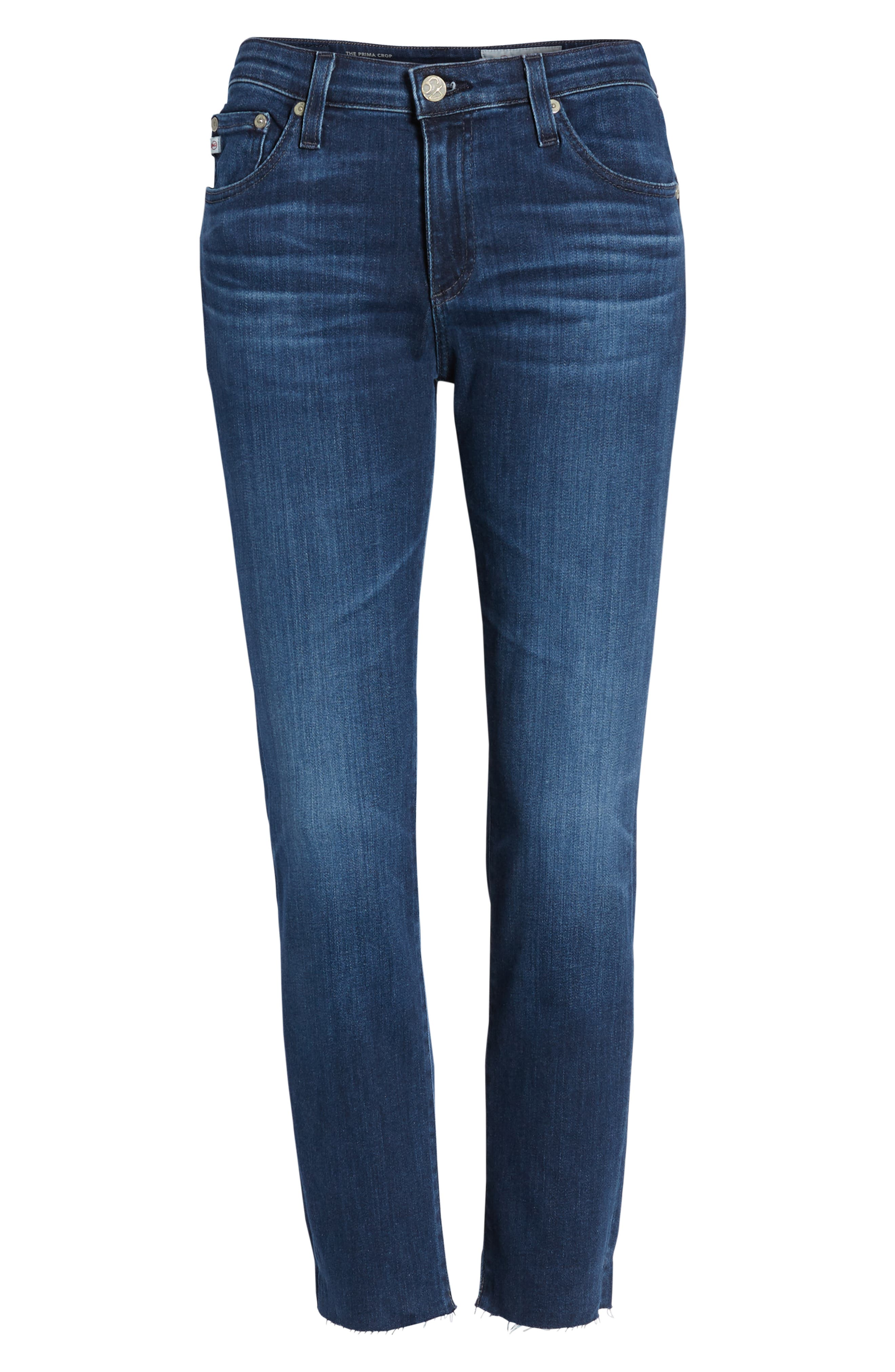 AG, The Prima Raw Hem Crop Jeans, Alternate thumbnail 7, color, 05Y BLUE ESSENCE