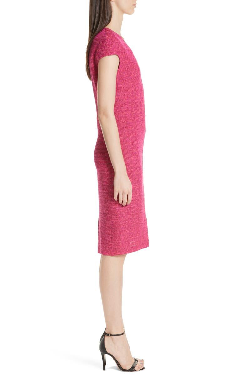 9663f383 St. John Andrea Asymmetric-Seamed Boucle Sheath Dress In Pink | ModeSens